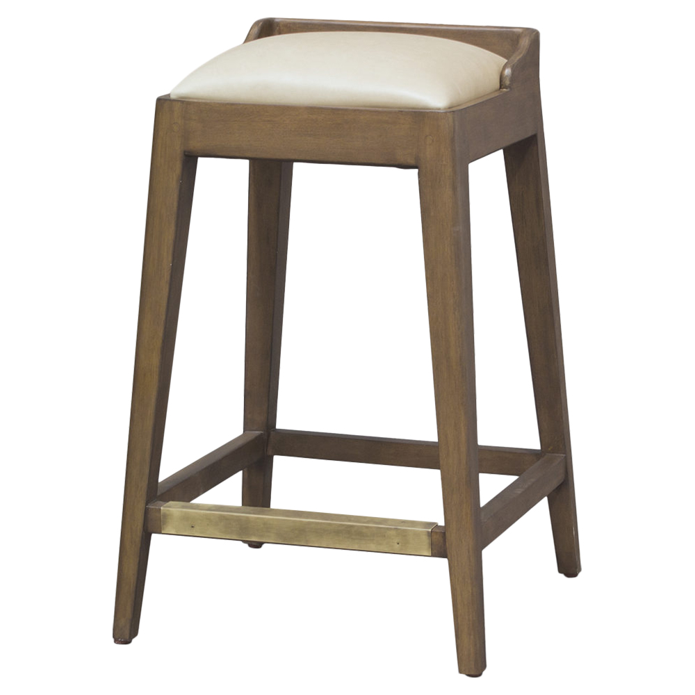 Pepper Cream Leather Rustic Wood Counter Stool