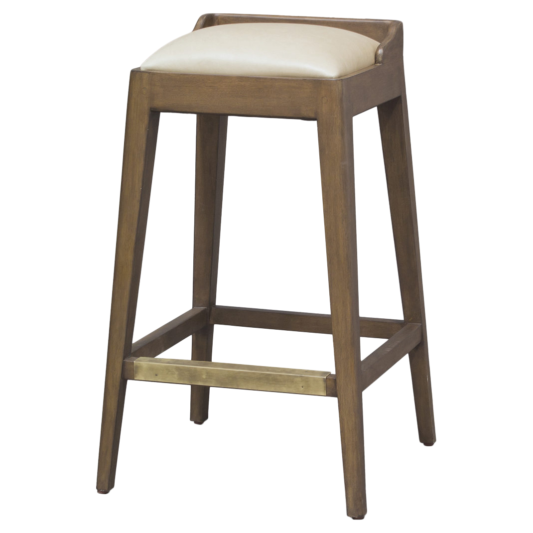 Pepper Cream Leather Rustic Wood Barstool