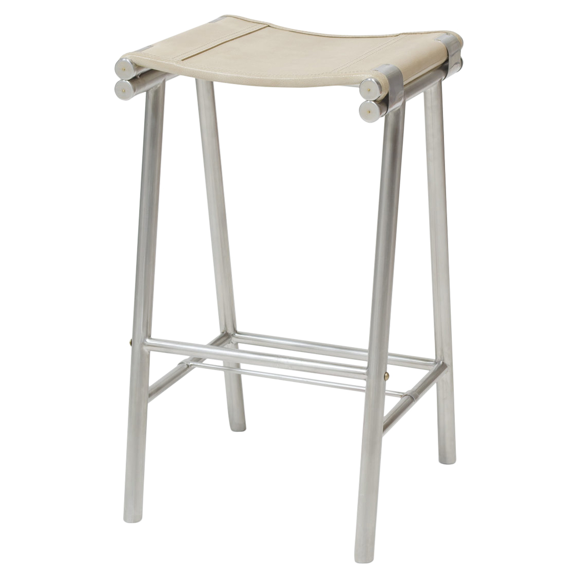 Salome Industrial Stainless Steel Cashew Leather Barstool