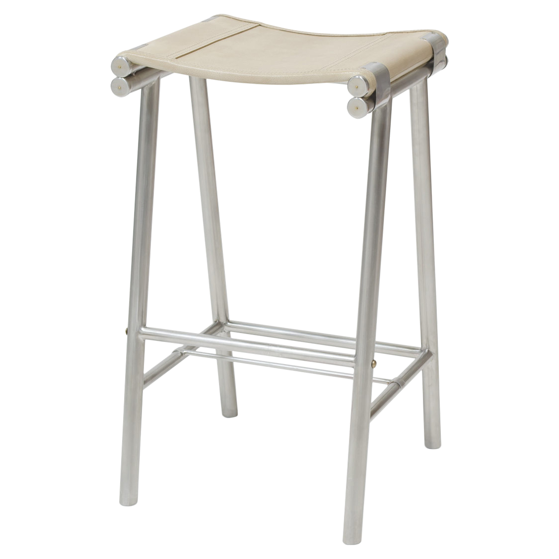 Salome Industrial Stainless Steel Cashew Leather Counter Stool