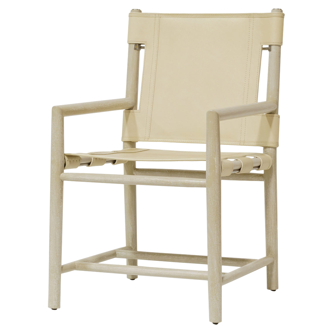 Bryton White Wash Cashew Leather Cane Armchair