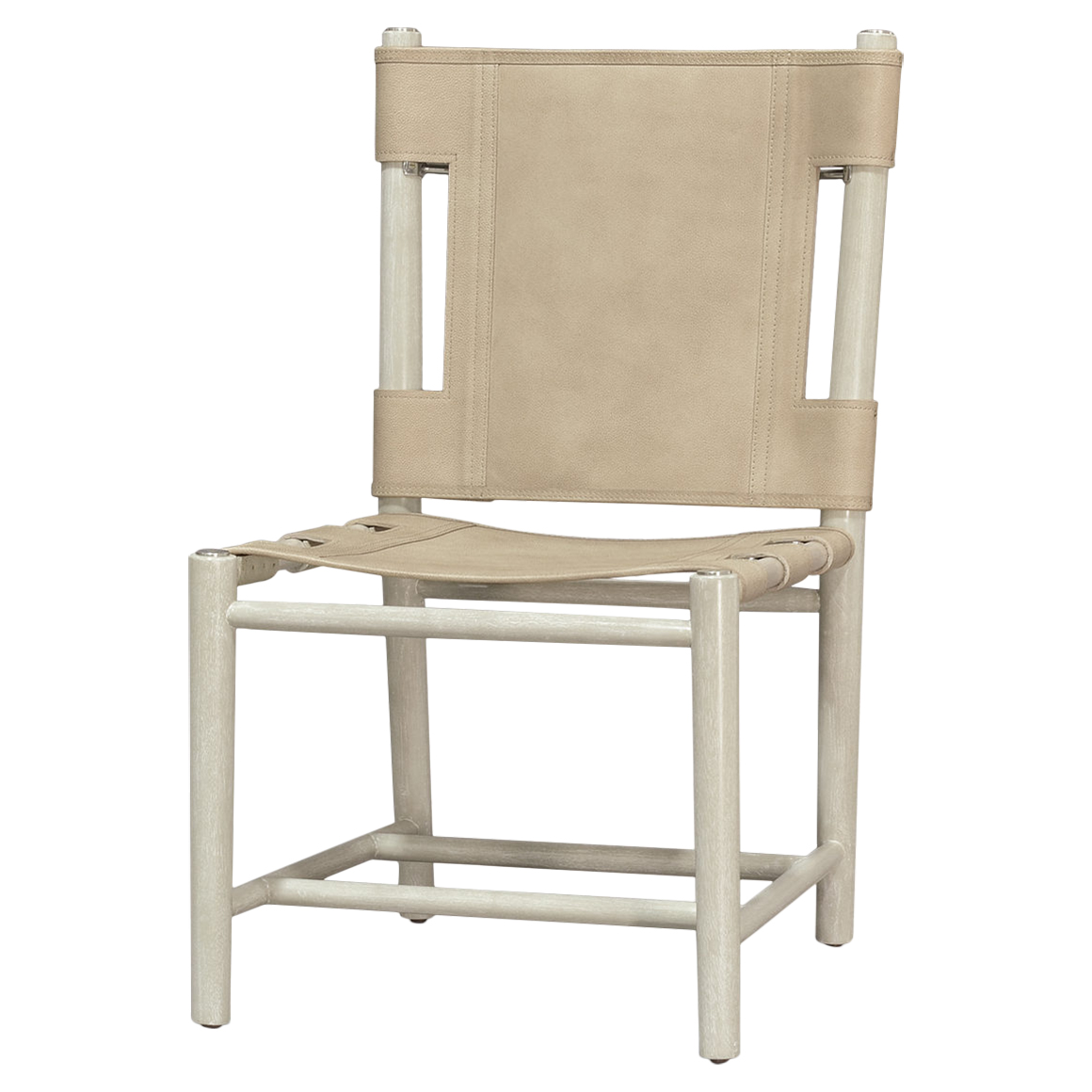Bryton White Wash Cashew Leather Cane Side Chair
