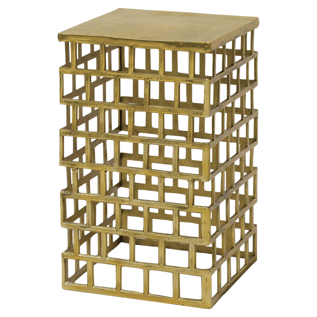 Valencia Global Bazaar Rustic Gold Cage End Table