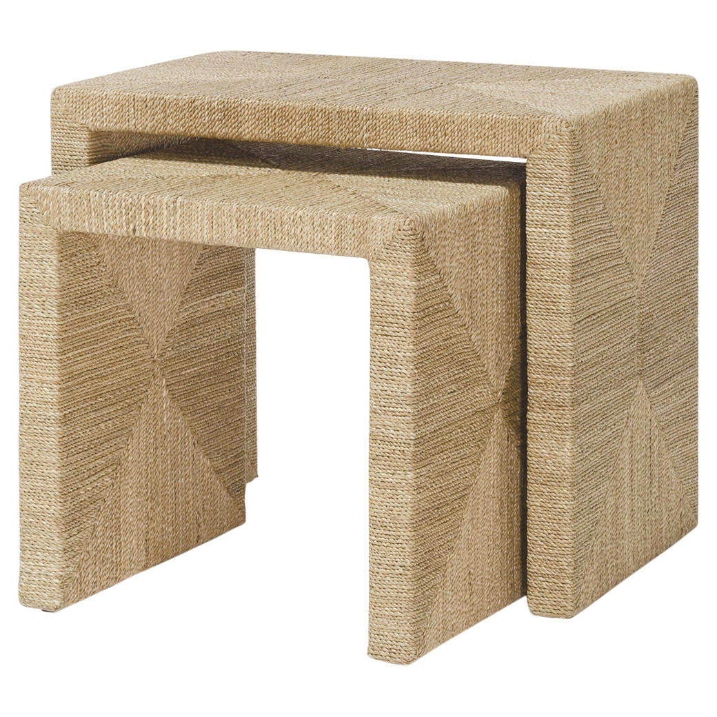 Calendula Natural Seagrass Rope Nesting Tables - Pair