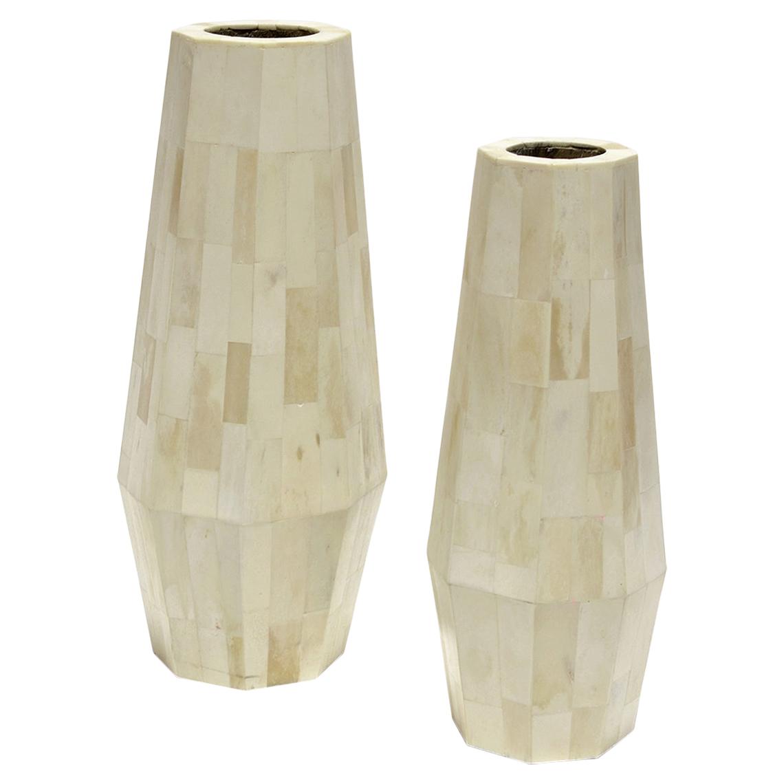 Rameel Global Bazaar Natural Inlaid Bone Vase - Pair