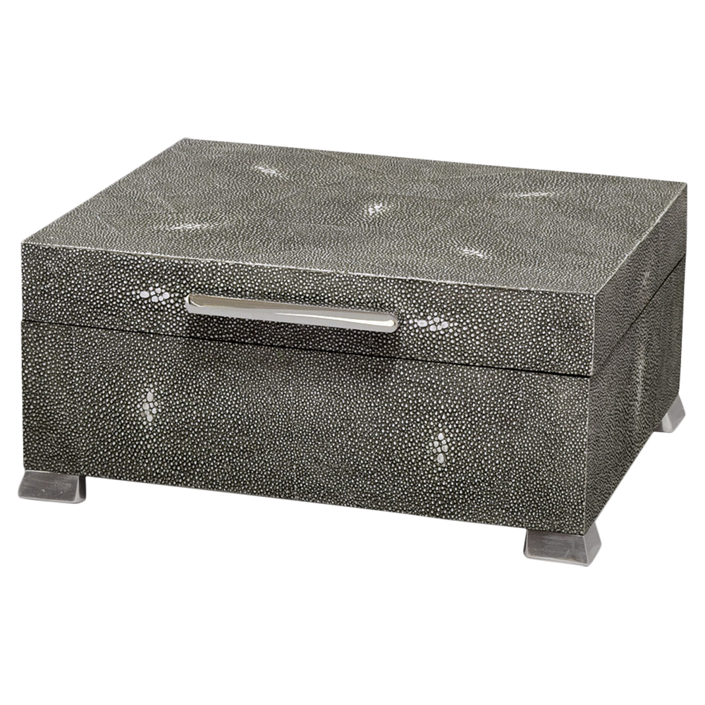 Leland Regency Charcoal Grey Shagreen Steel Decorative Box
