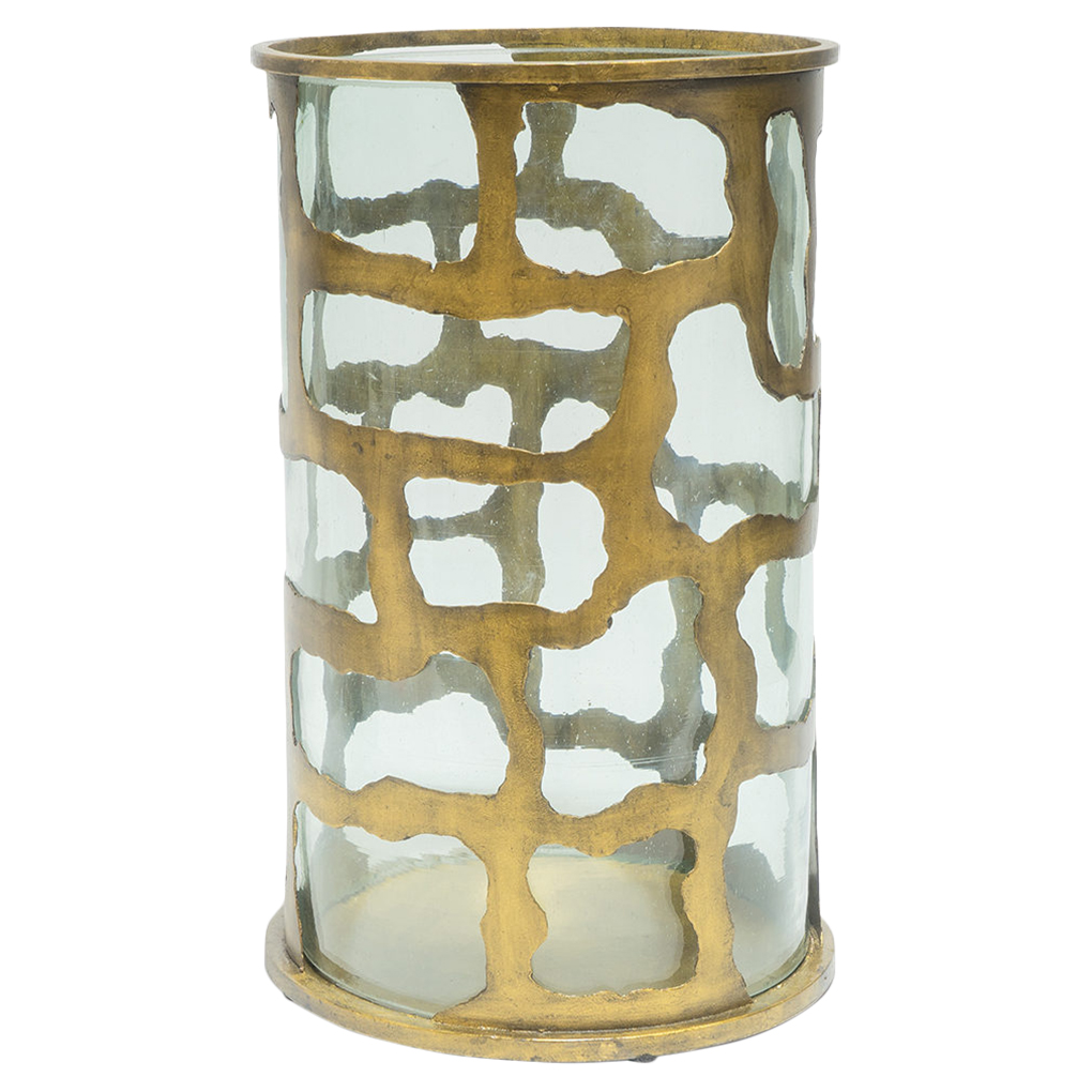 Gold Wrought Iron Glass Hurricane - Large