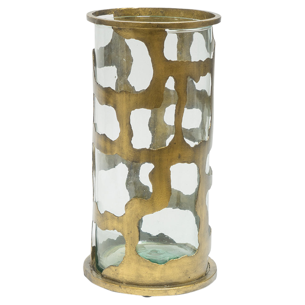 Gold Wrought Iron Glass Hurricane - Small