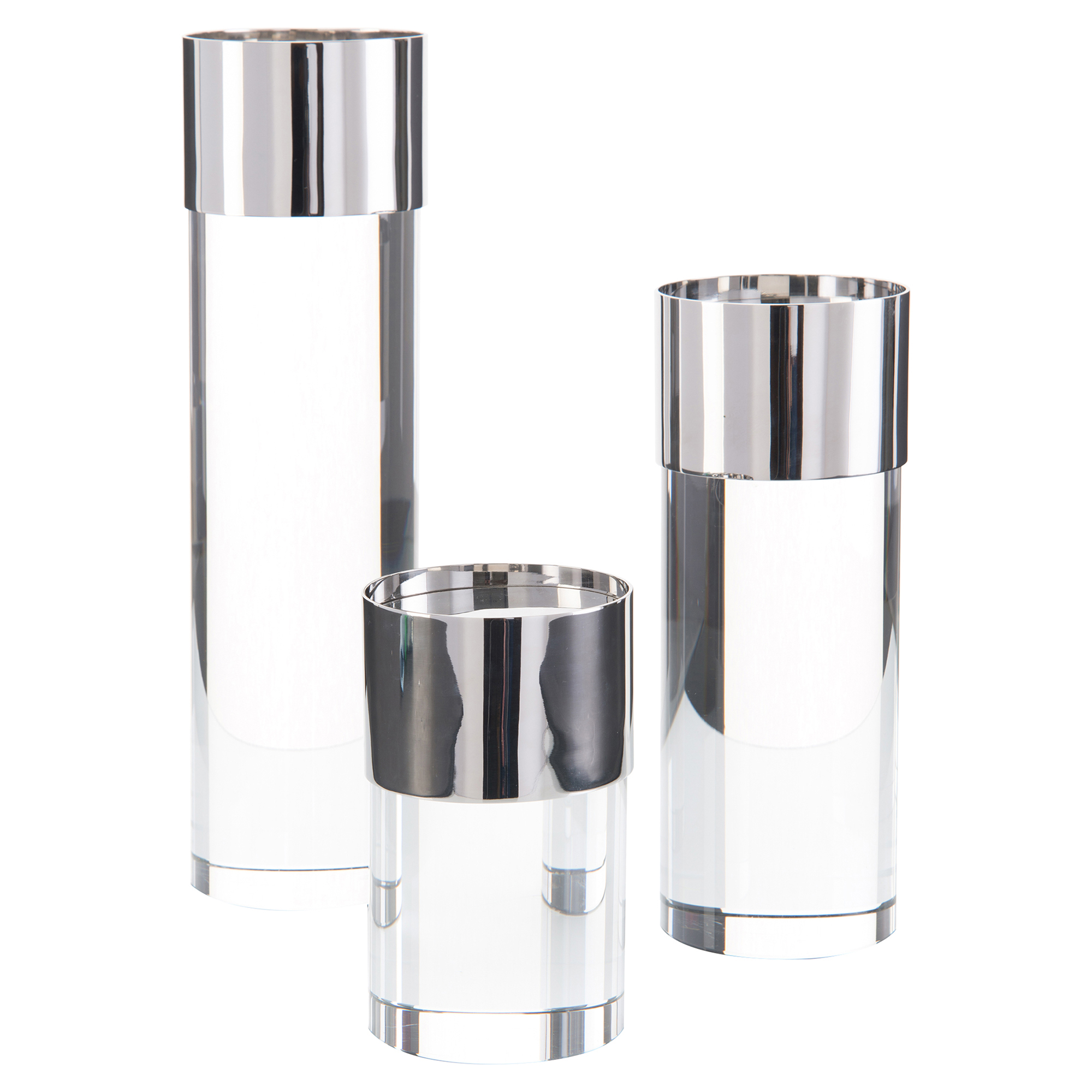 Modern Crystal Nickel Plated Candleholders - Set of 3