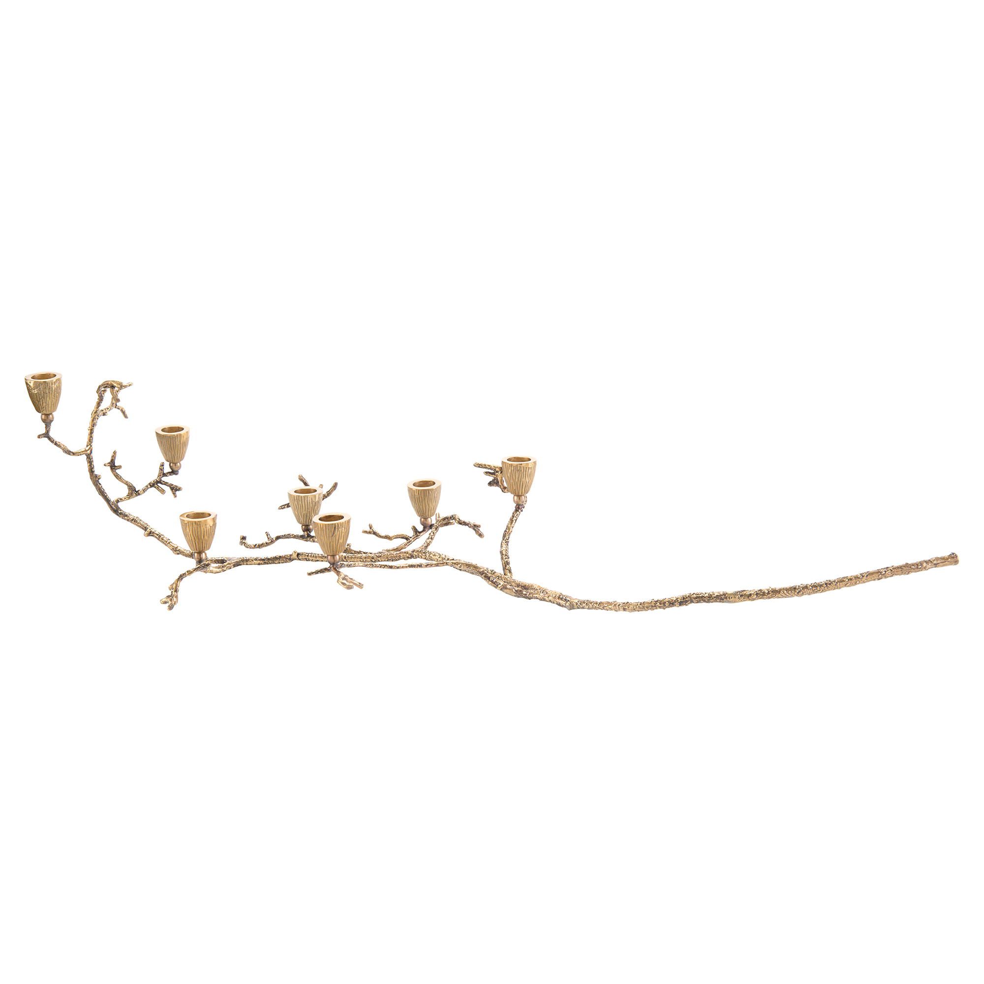 Delicate Branching Cast Brass Candleholder