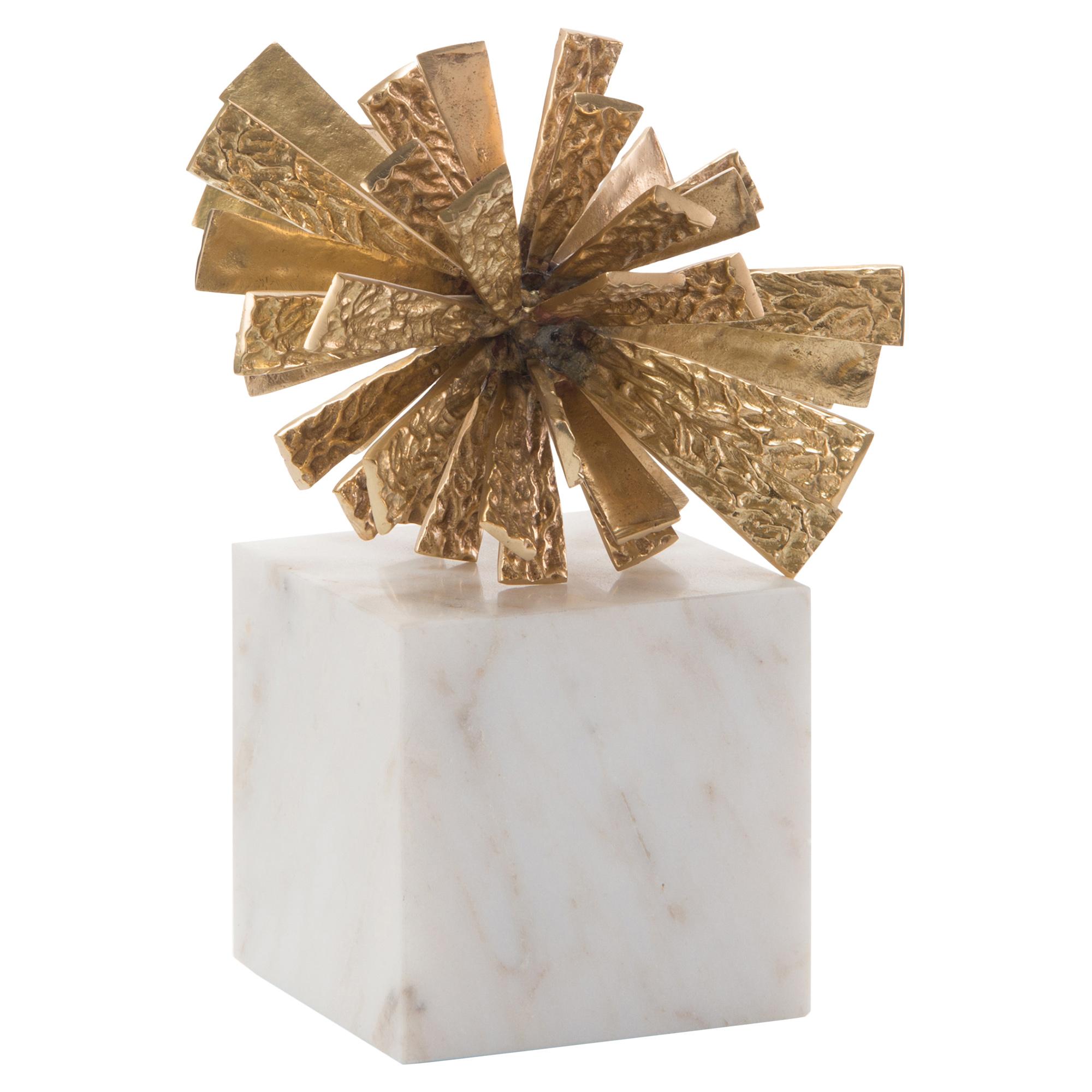 Brass Star Regency White Marble Sculpture