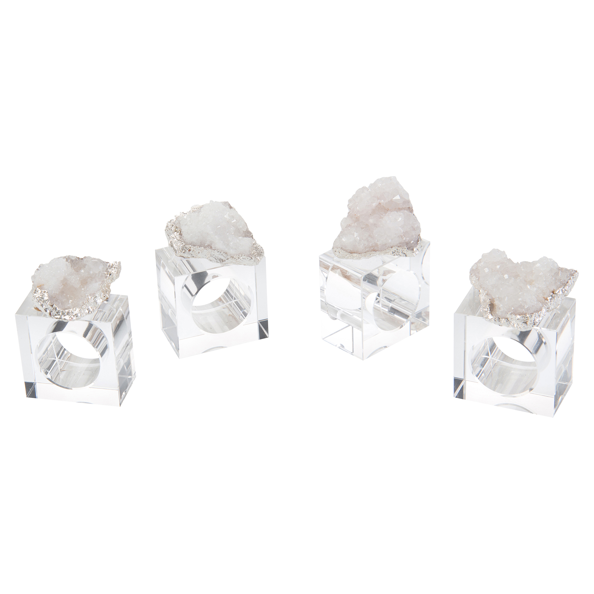 Nickel Plated White Geode Crystal Napkin Rings - Set of 4