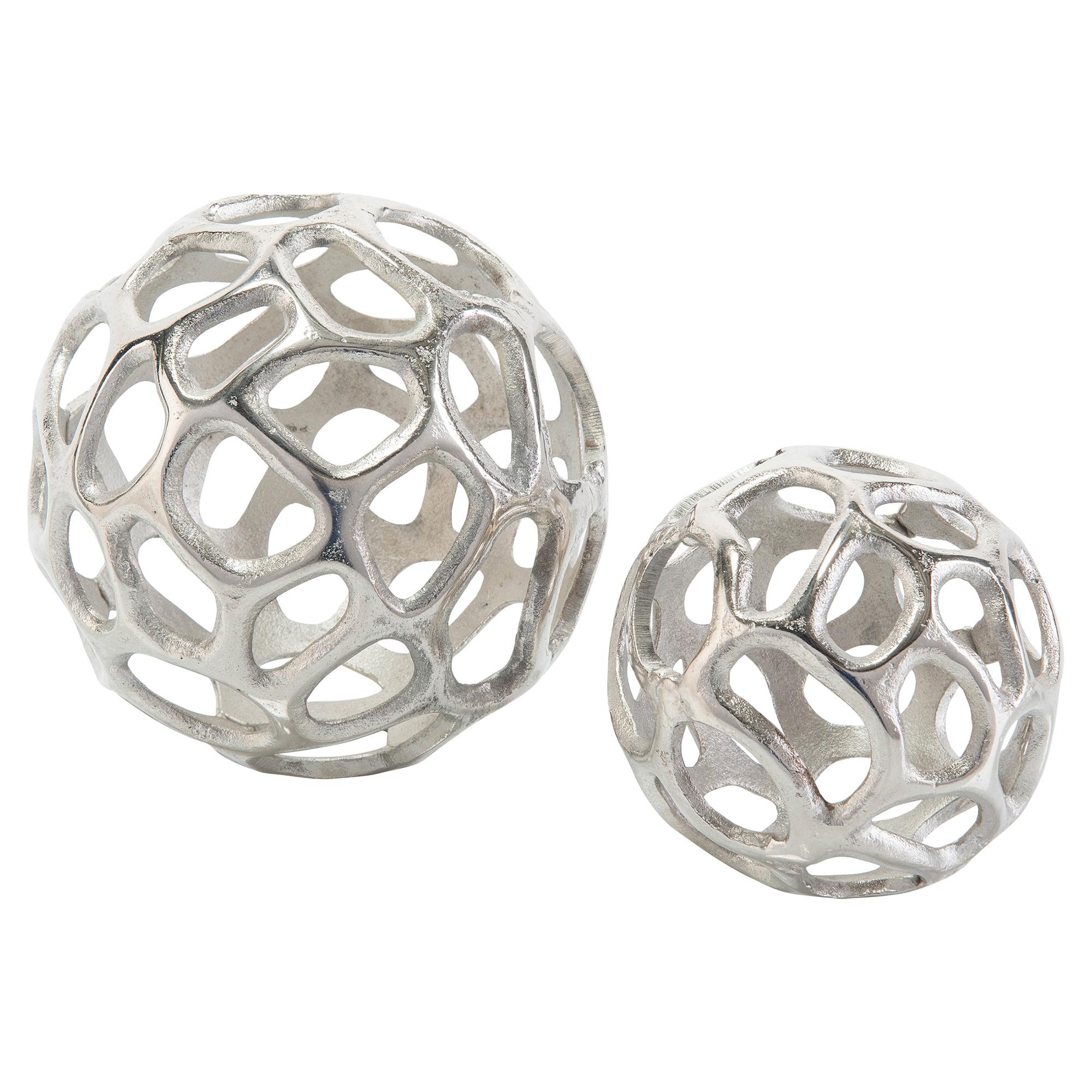 Organic Silver Sculptural Orbs - Pair