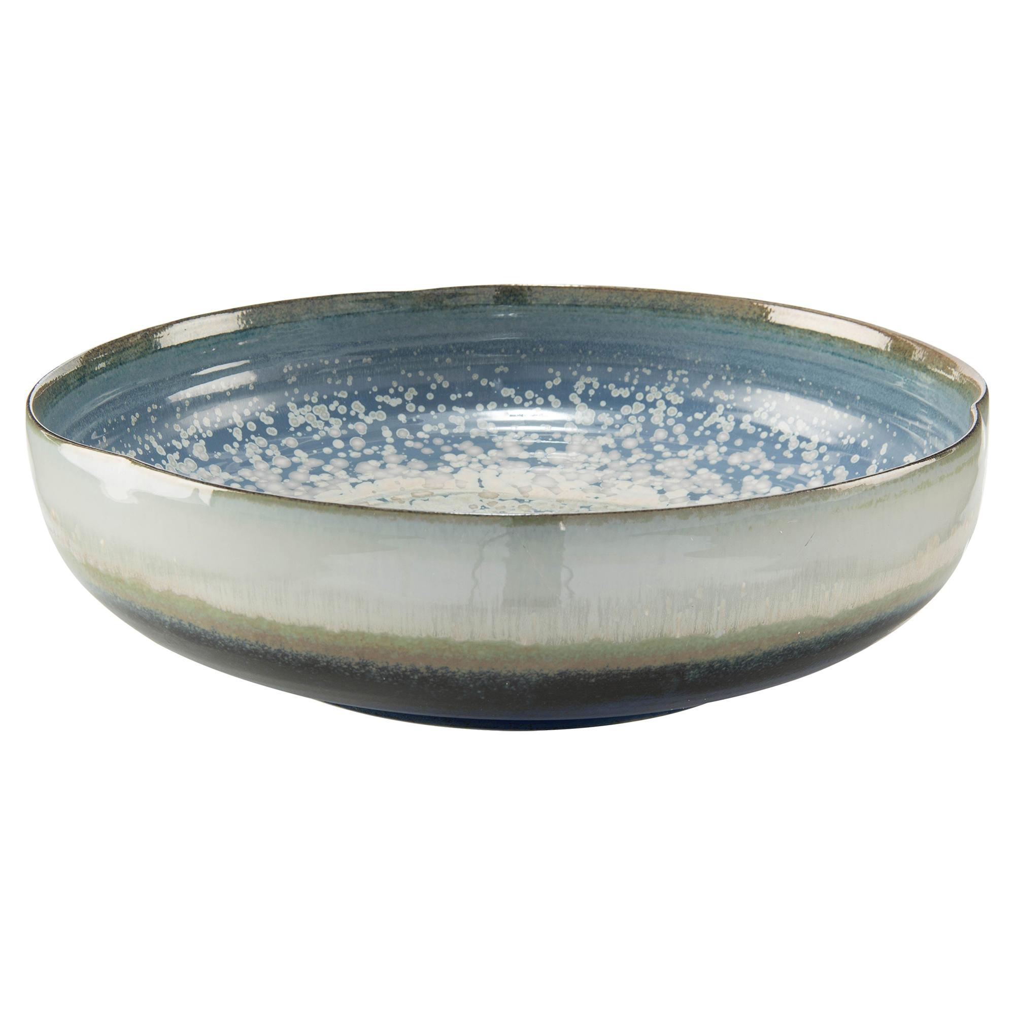 Shallow Reactive Glaze Blue Ceramic Decorative Bowl