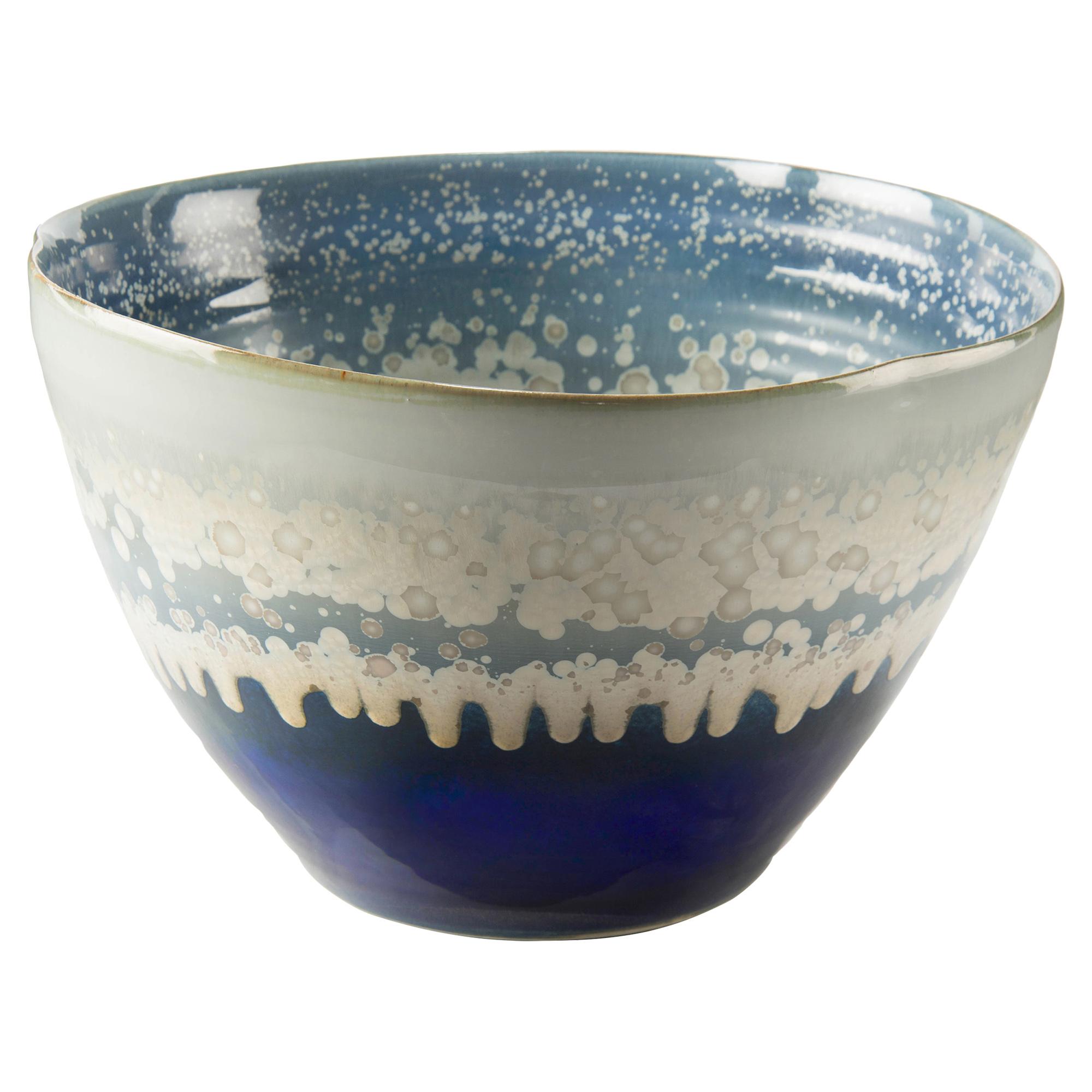 Blue Cream Reactive Glaze Deep Ceramic Bowl