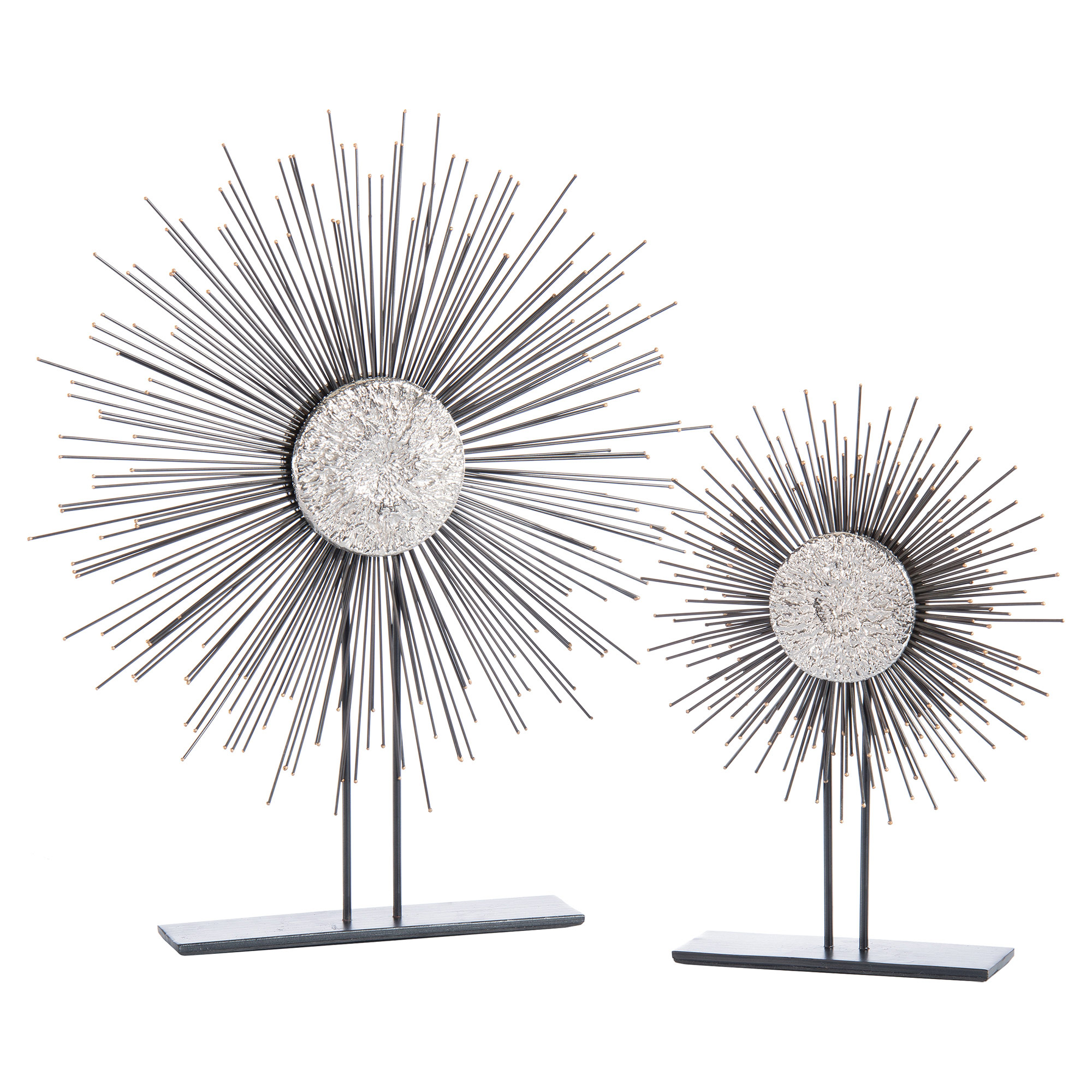 Silver Moon Nickel Burst Iron Sculptures - Pair