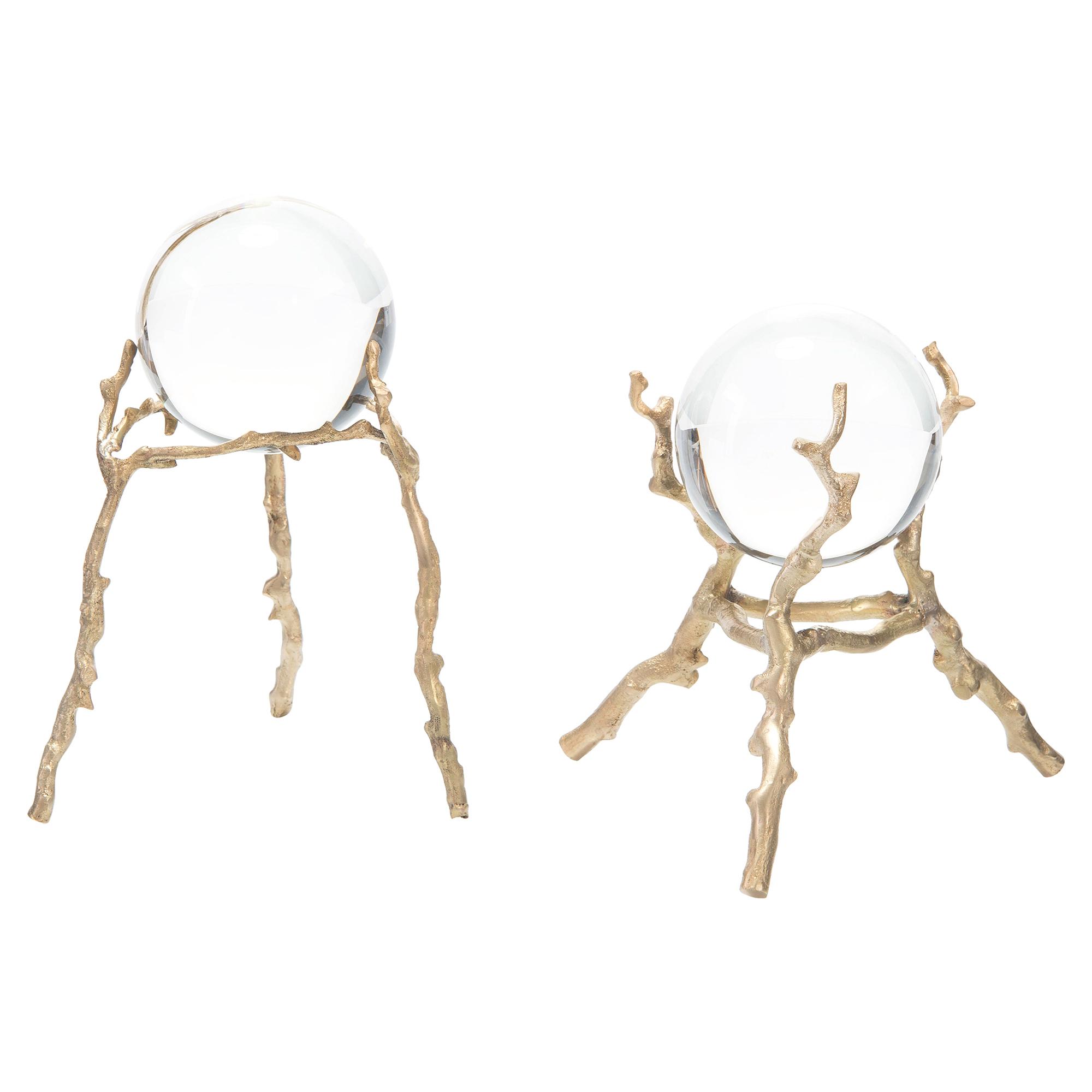 Mystical Brass Twig Crystal Balls - Pair