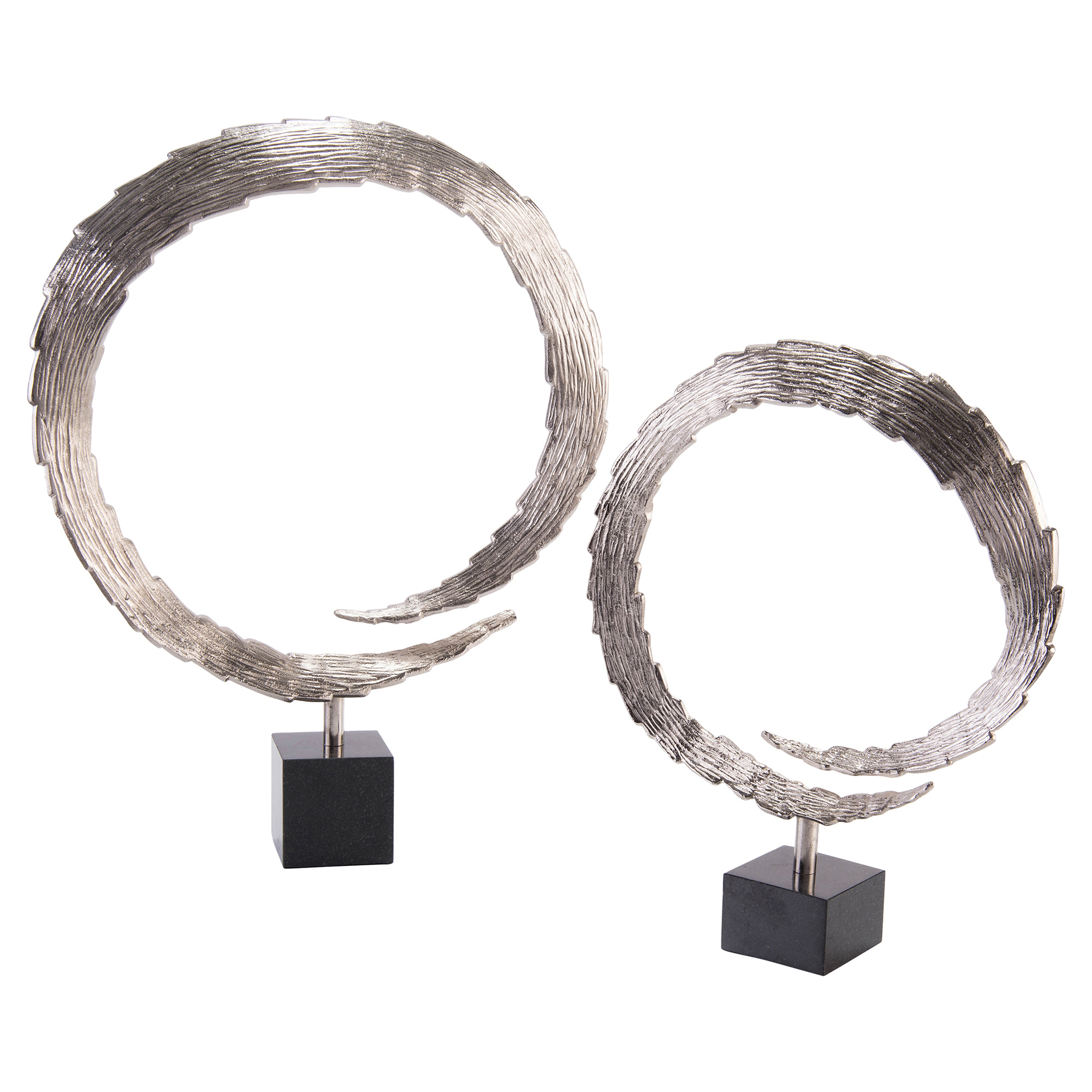 Razor Edge Circular Flame Silver Sculptures - Pair