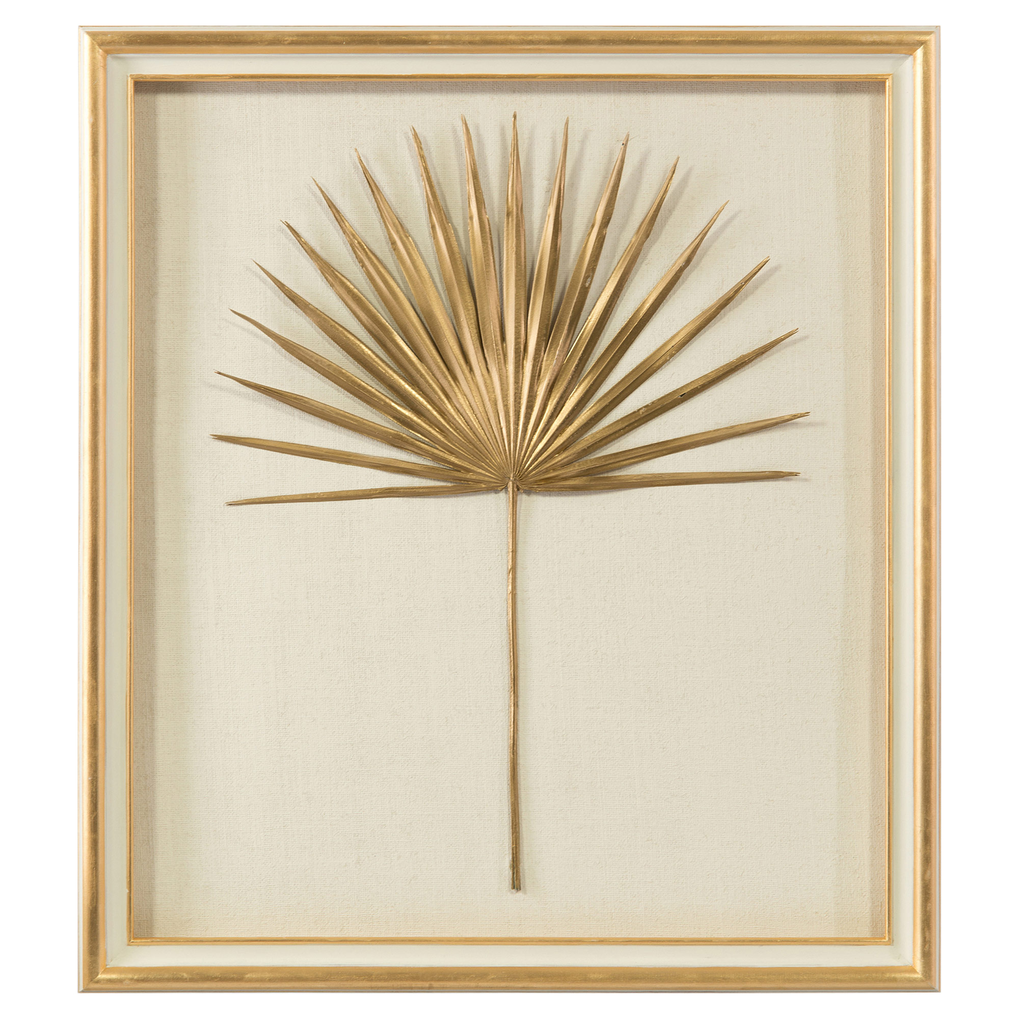 Palm Frond Gold Leaf Ivory Shadowbox - II