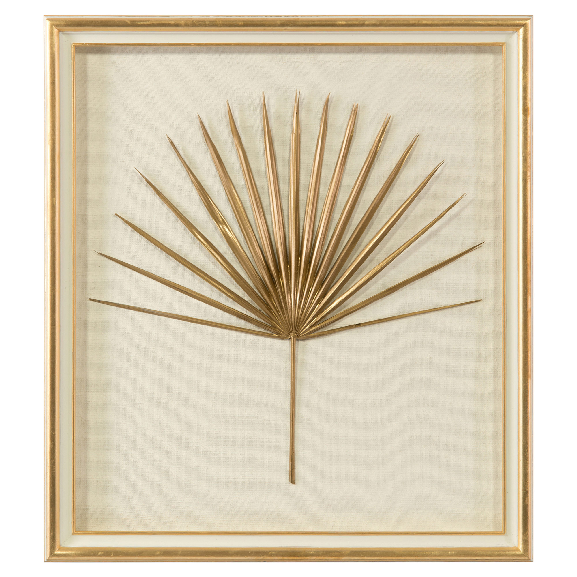 Palm Frond Gold Leaf Ivory Shadowbox - I