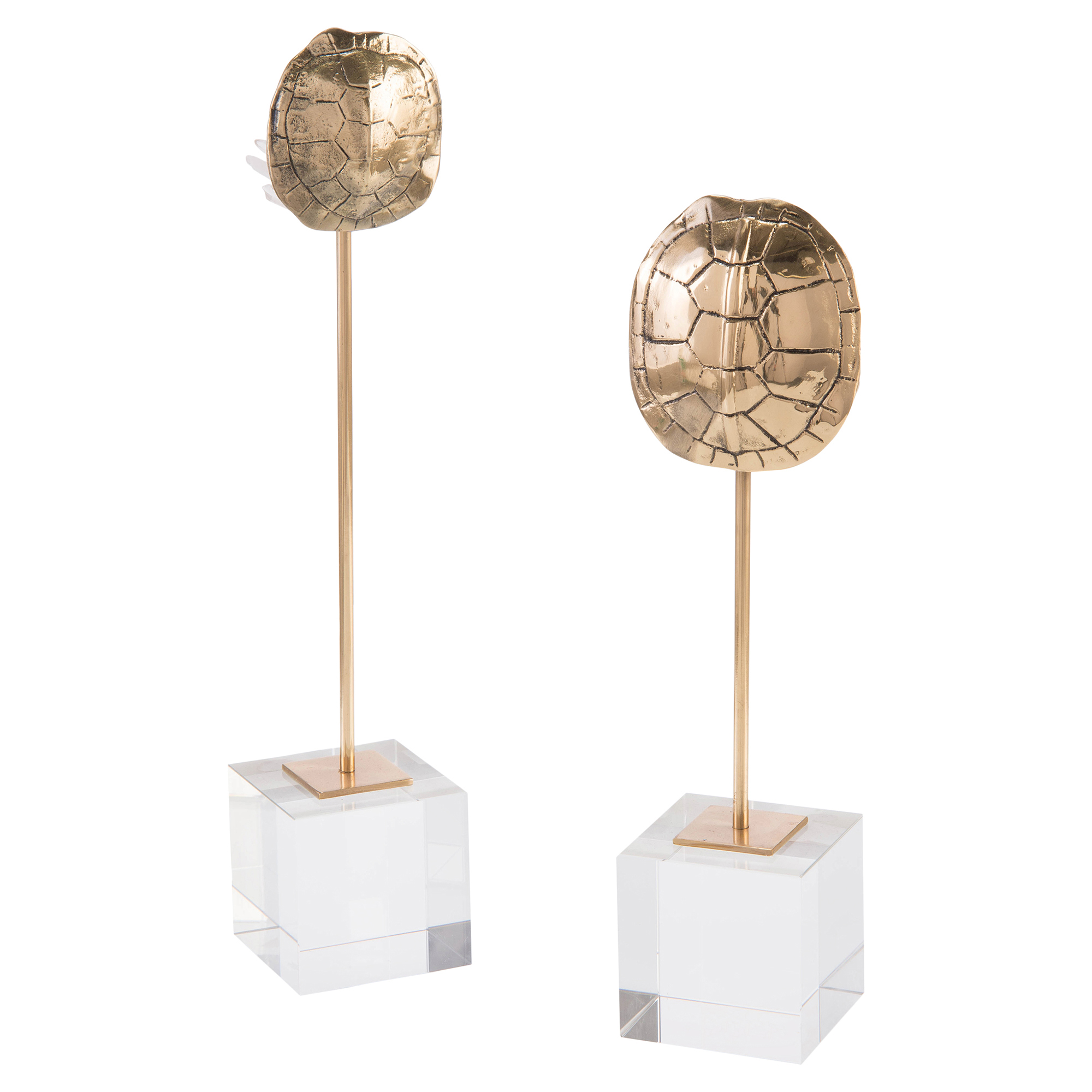 Turtle Shell Quartz Brass Crystal Sculptures - Pair