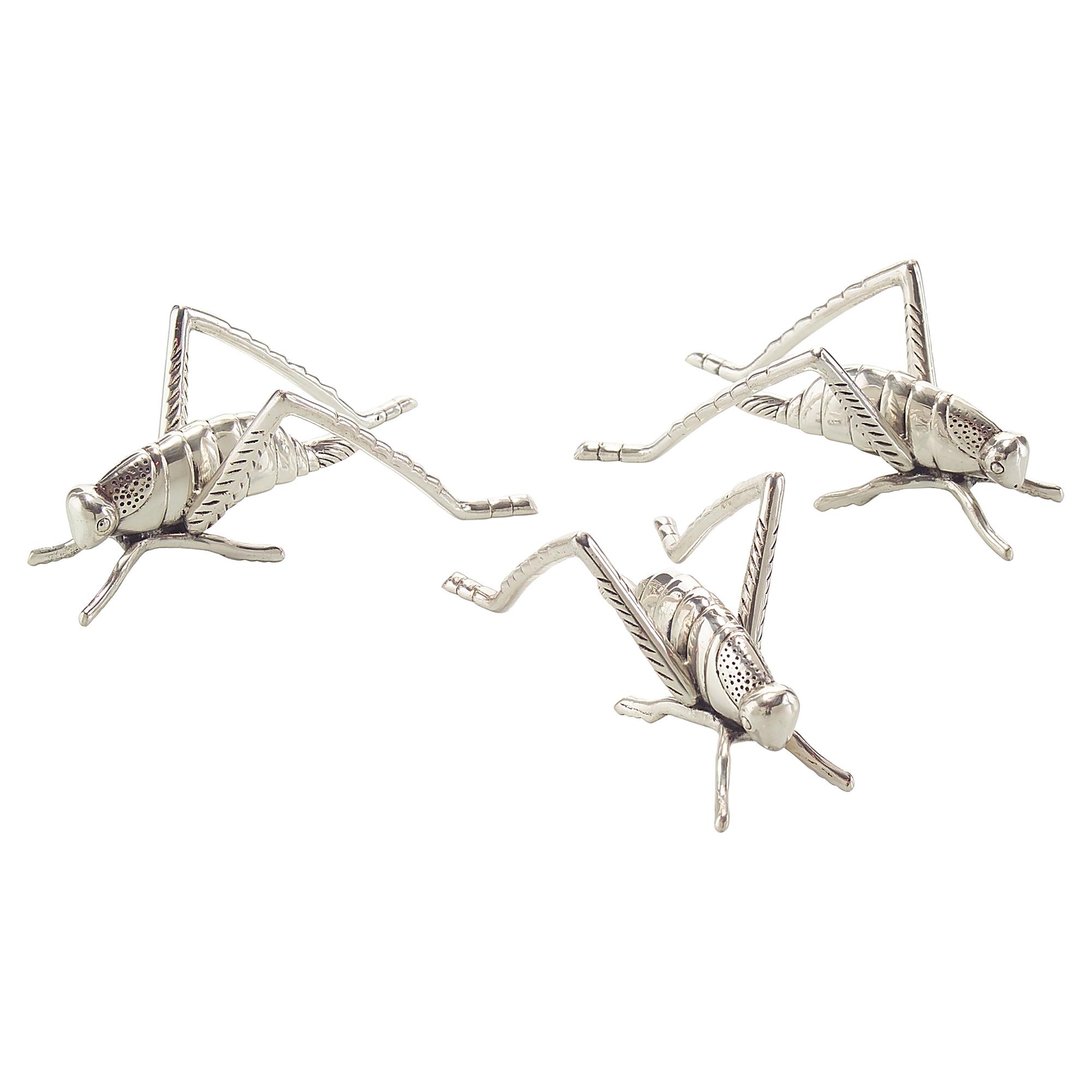 Lucky Trio Silver Grasshopper Sculptures - Set of 3