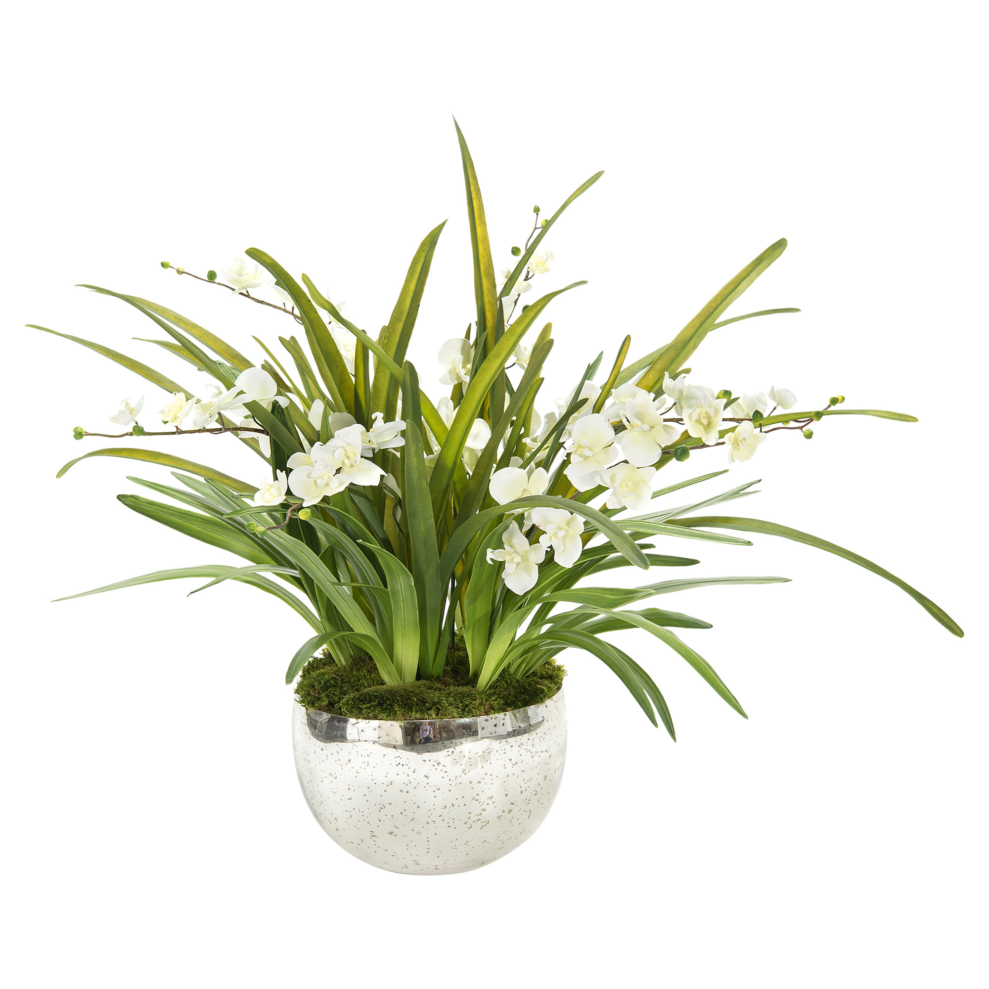 Mossy Wild White Orchid Mirrored Bowl Faux Floral