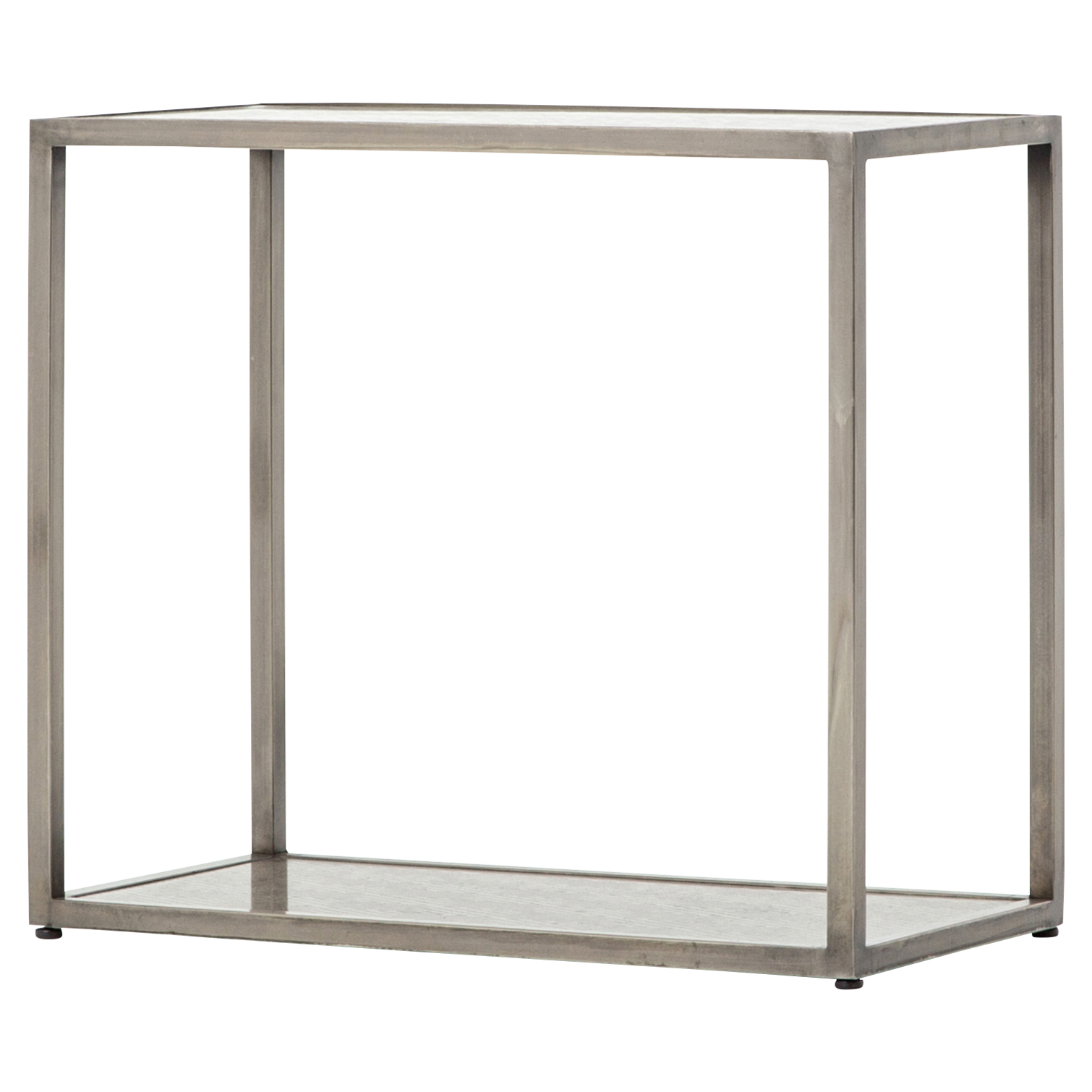 Jerica Loft Geometric Etched Pewter Metal End Table