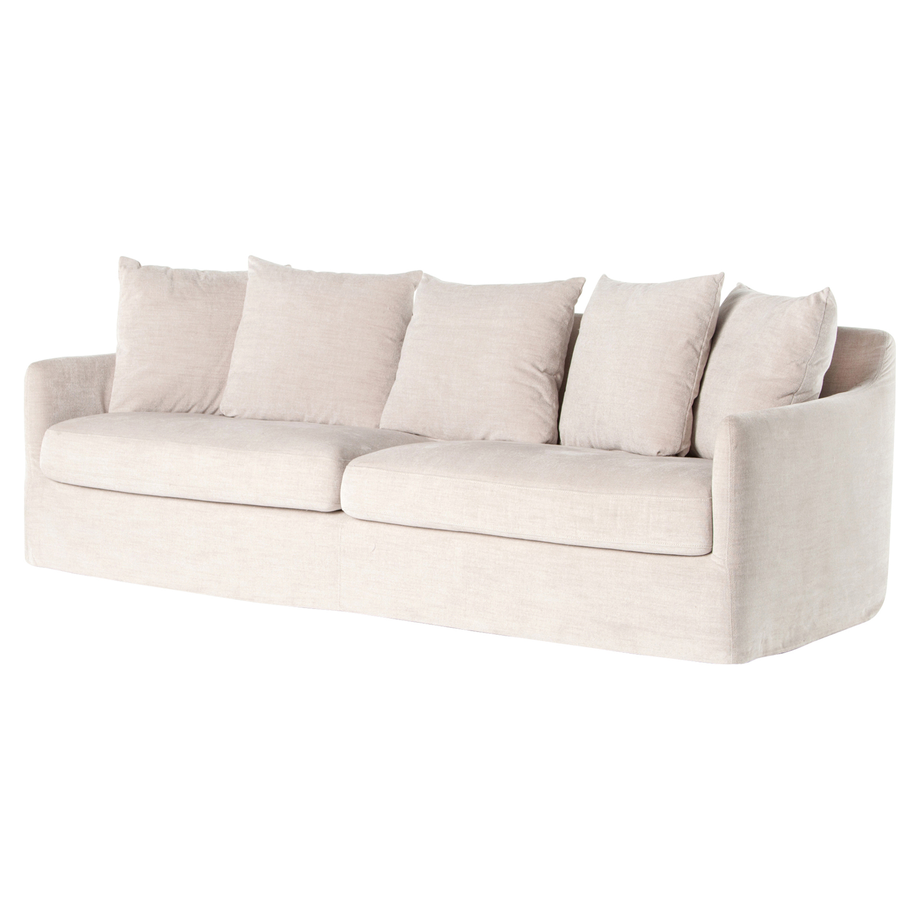 Delphina Coastal Ivory Slipcover Rounded Sofa