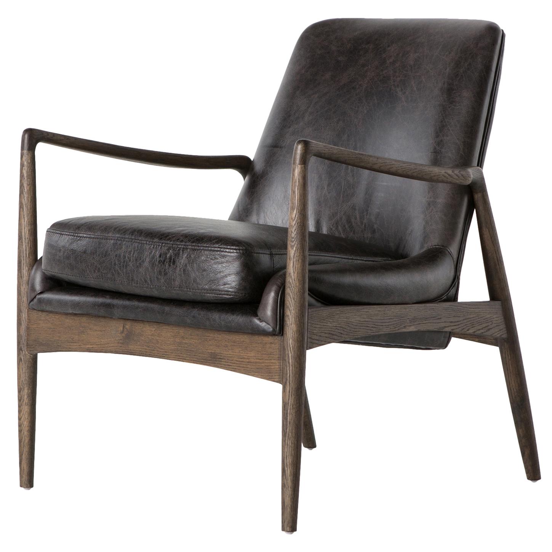 Olena Mid Century Black Leather Sculpted Cedar Armchair