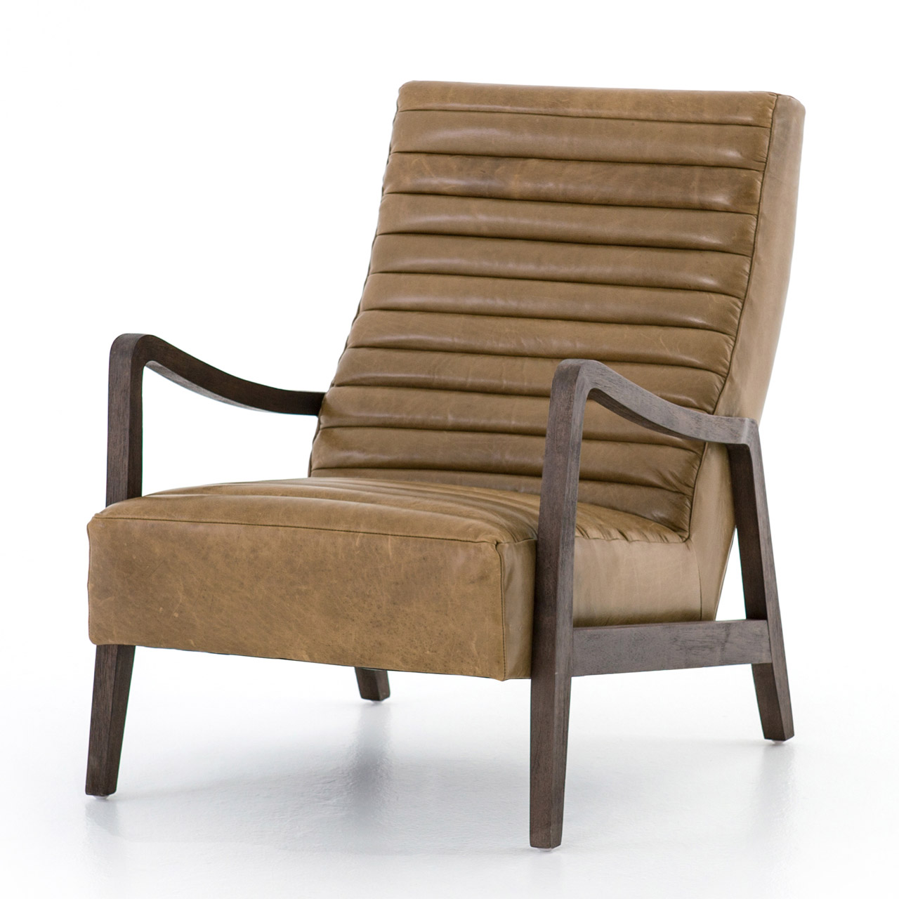 Elkan Modern Classic Camel Leather Brown Armchair