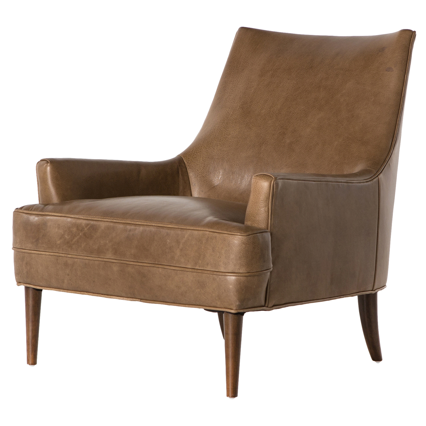 Vanda Retro Modern Camel Brown Leather Armchair