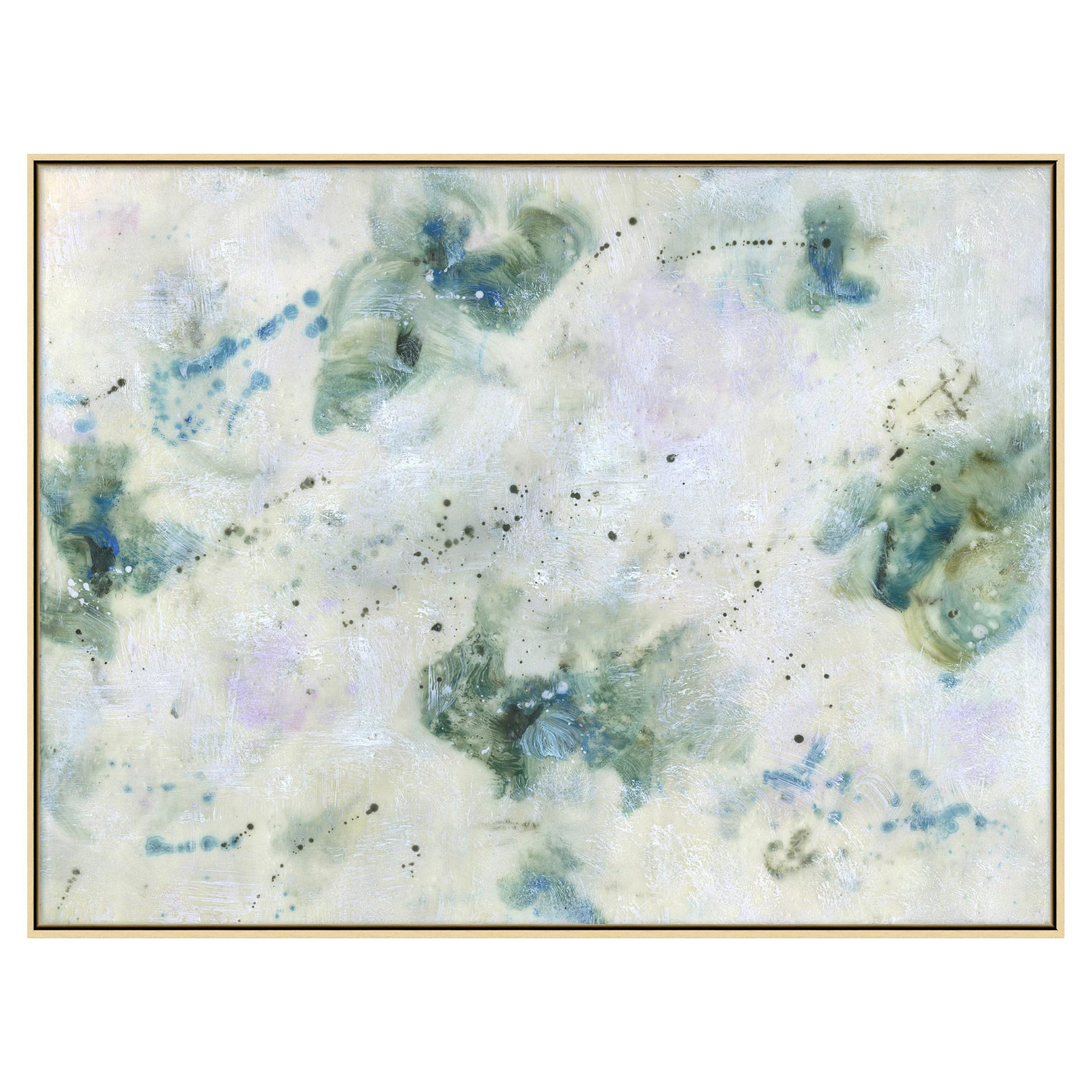 Lavender Teal Clouds Encaustic Matte Painting - II
