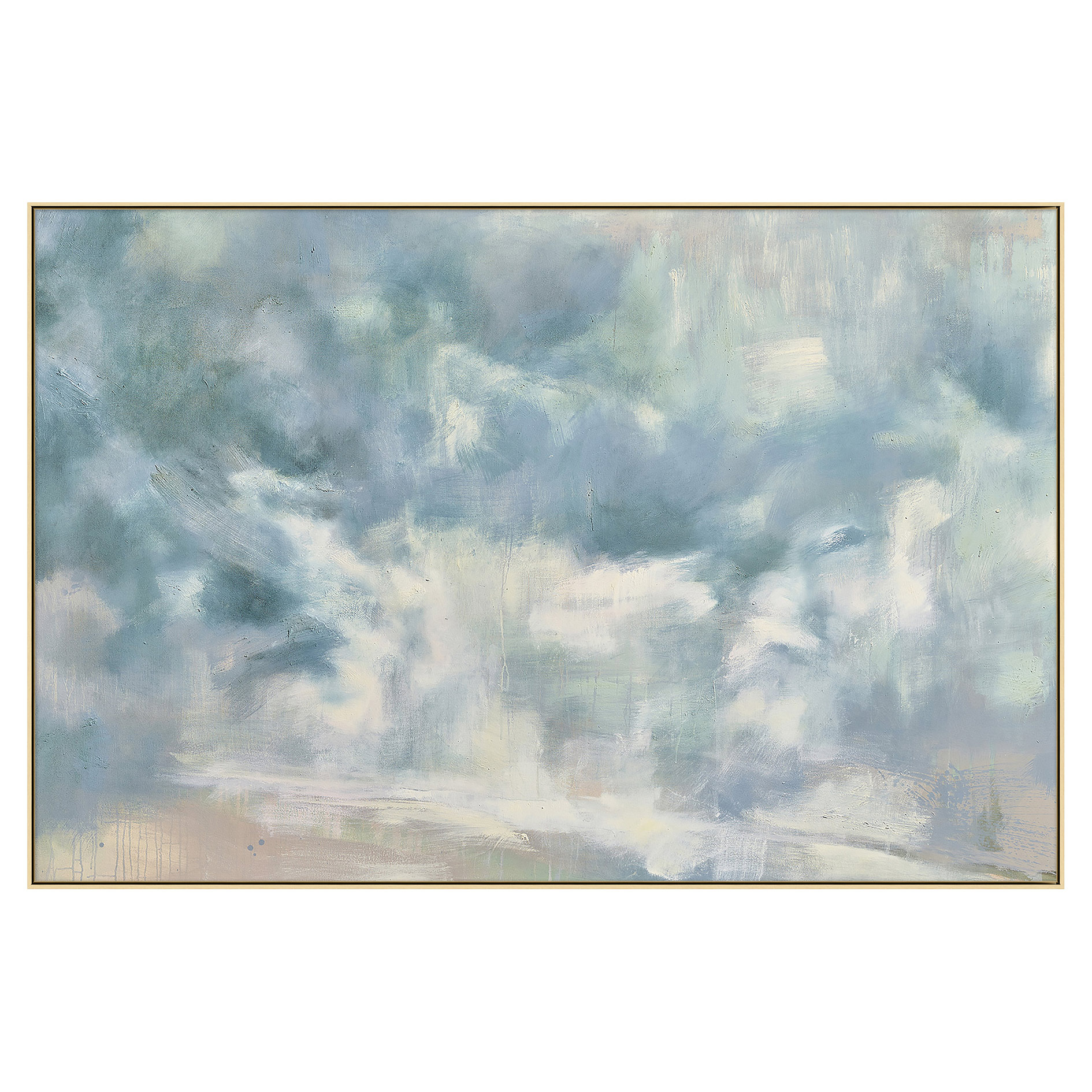 Cloudy Blue Abstract Giclee Gallery Wrapped Painting