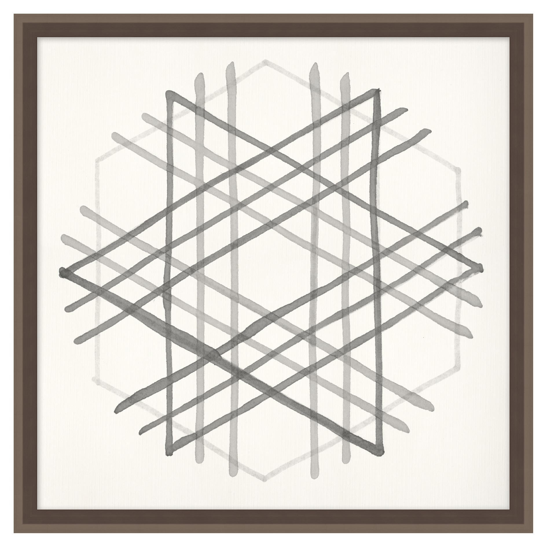 Geometry Cross Hatch Soft Grey Contermporary Art