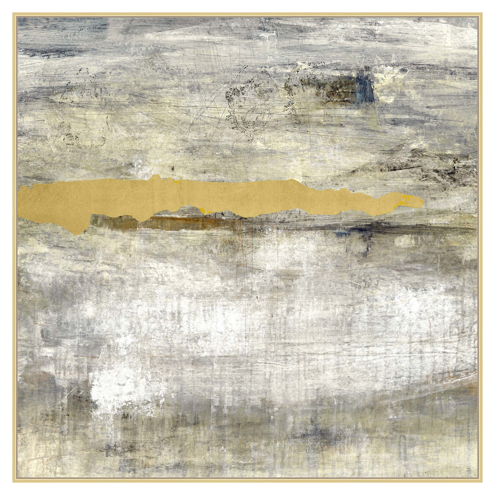 Gold Leaf Beam Abstract Grey Canvas Painting - I