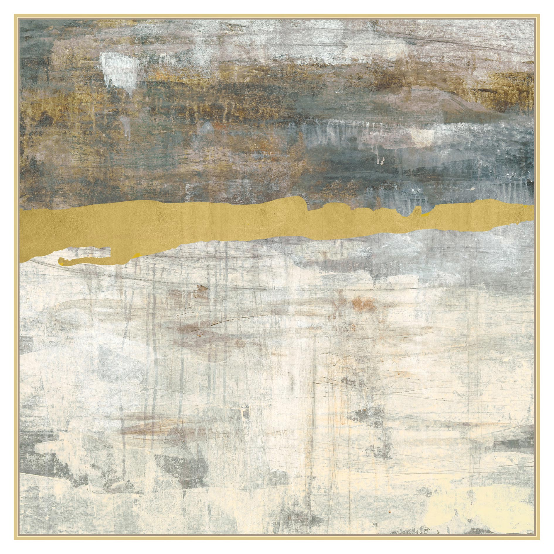 Gold Leaf Beam Abstract Grey Canvas Painting - II