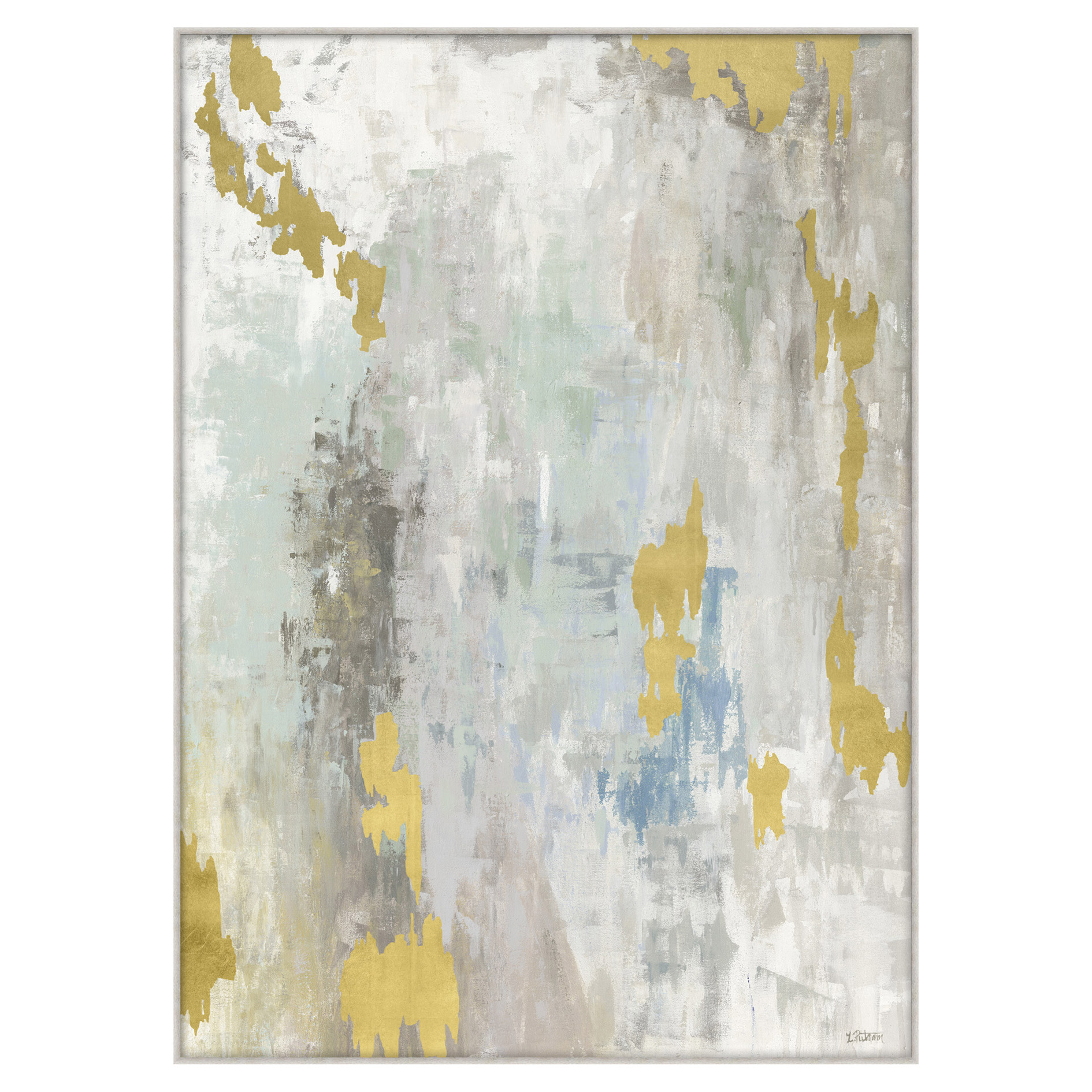 Grey Pastel Gold Leaf Fragment Giclee Painting - I