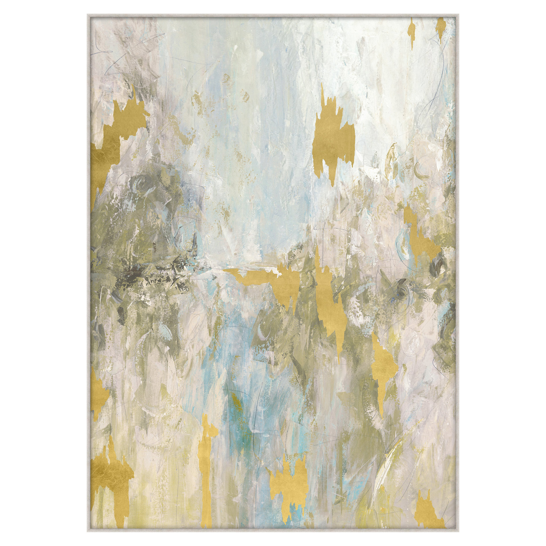 Grey Pastel Gold Leaf Fragment Giclee Painting - II