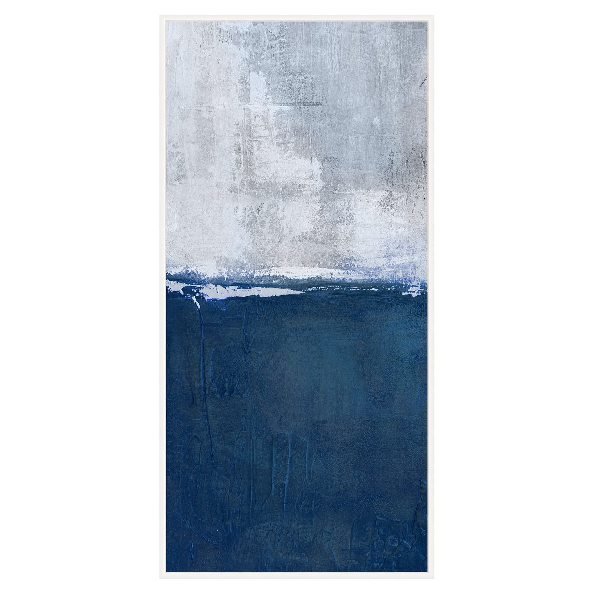 Navy Dive Blue Abstract Tall Canvas - II