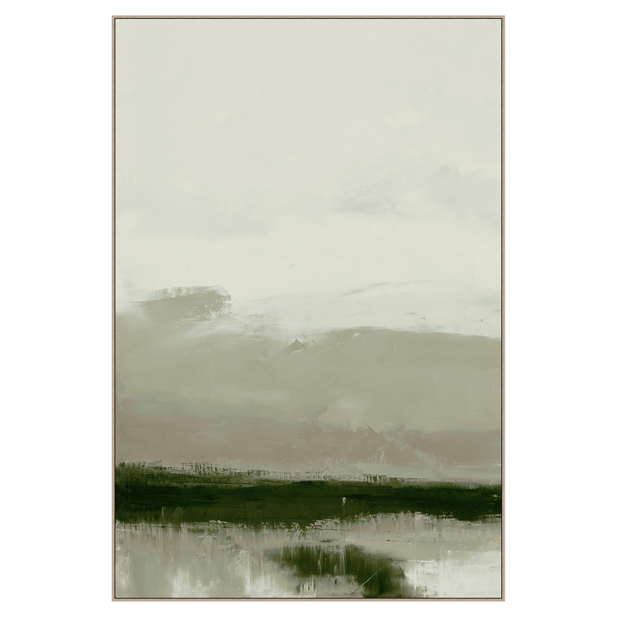 Forest Green Fog Abstract Canvas Painting - I