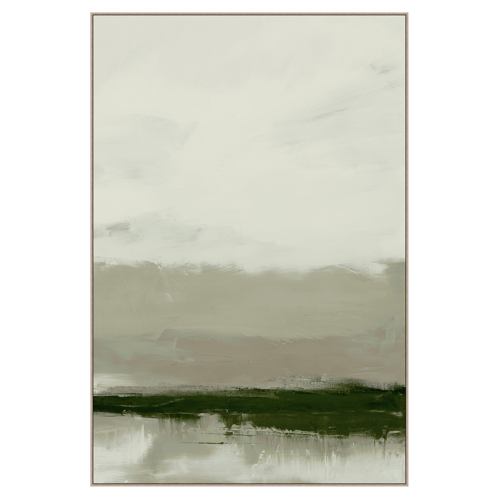 Forest Green Fog Abstract Canvas Painting - II