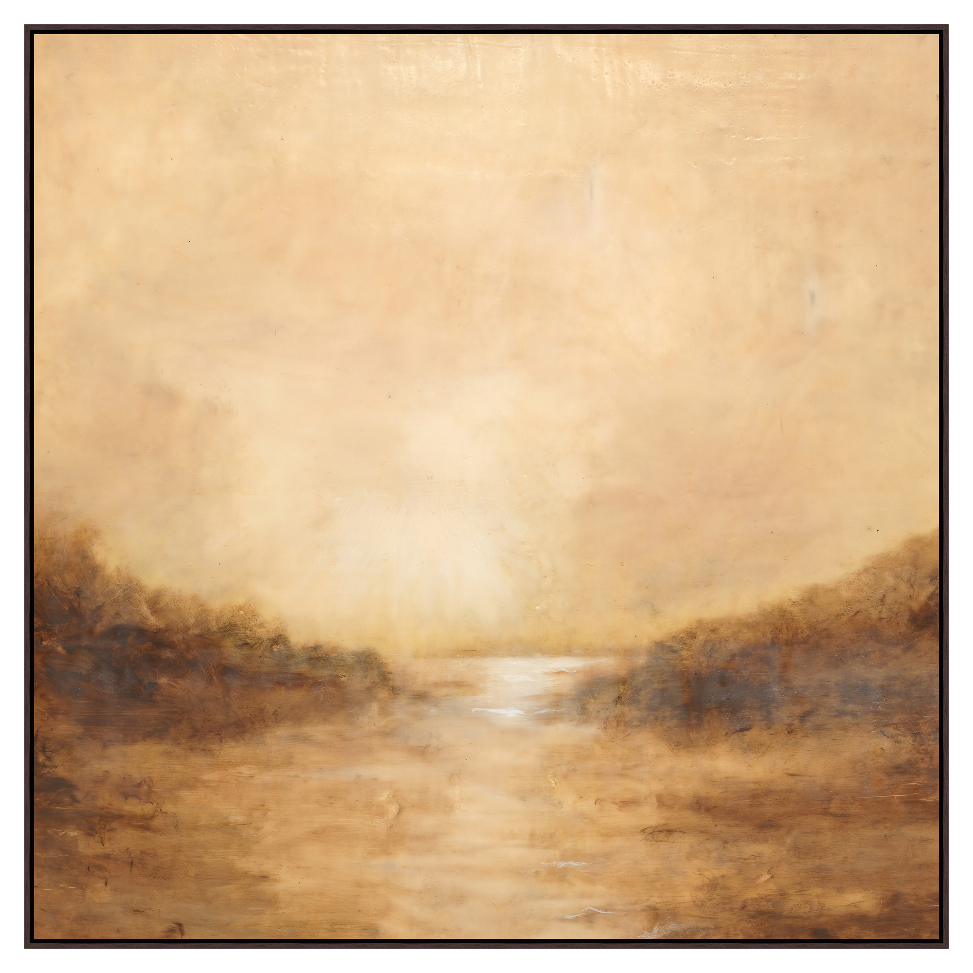 Seaside Golden Brown Abstract Canvas Painting