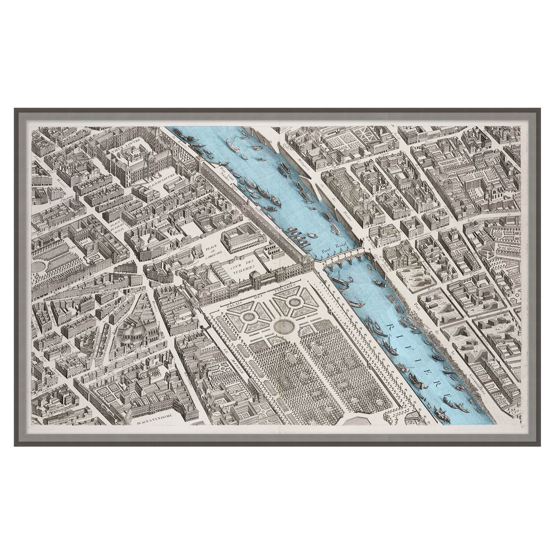 Paris Antique Aerial Matte Map Print  - I
