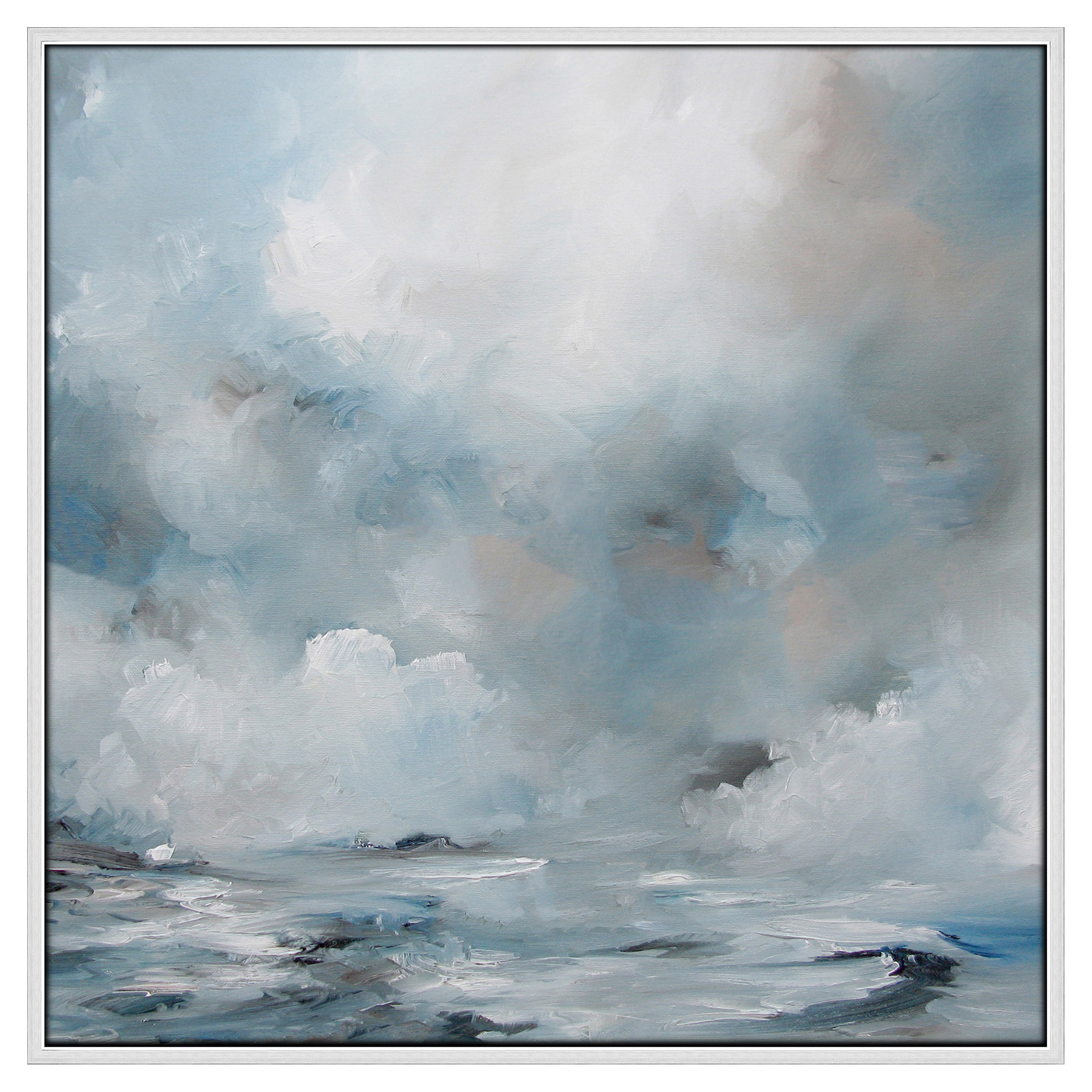 Waves to Clouds Blue Abstract Canvas Painting