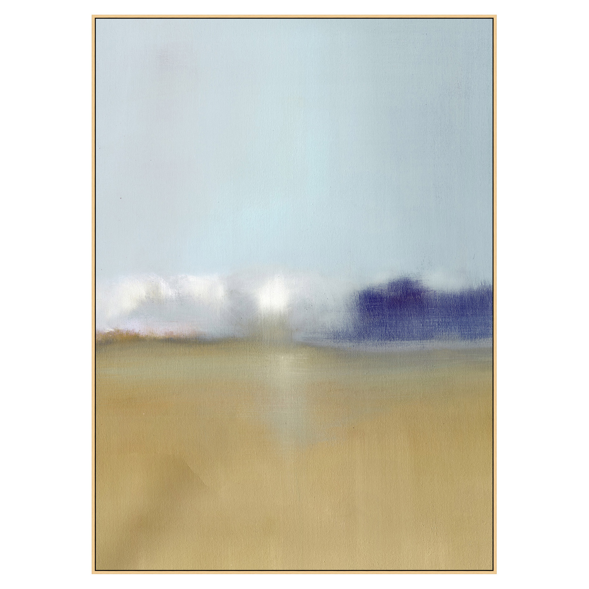 Field Horizon Abstract Beige Blue Canvas Painting