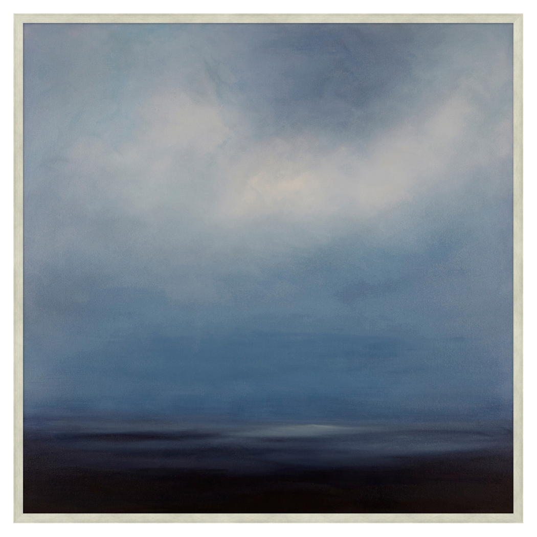 Coastal Sapphire Sky Abstract Blue Canvas Painting - II