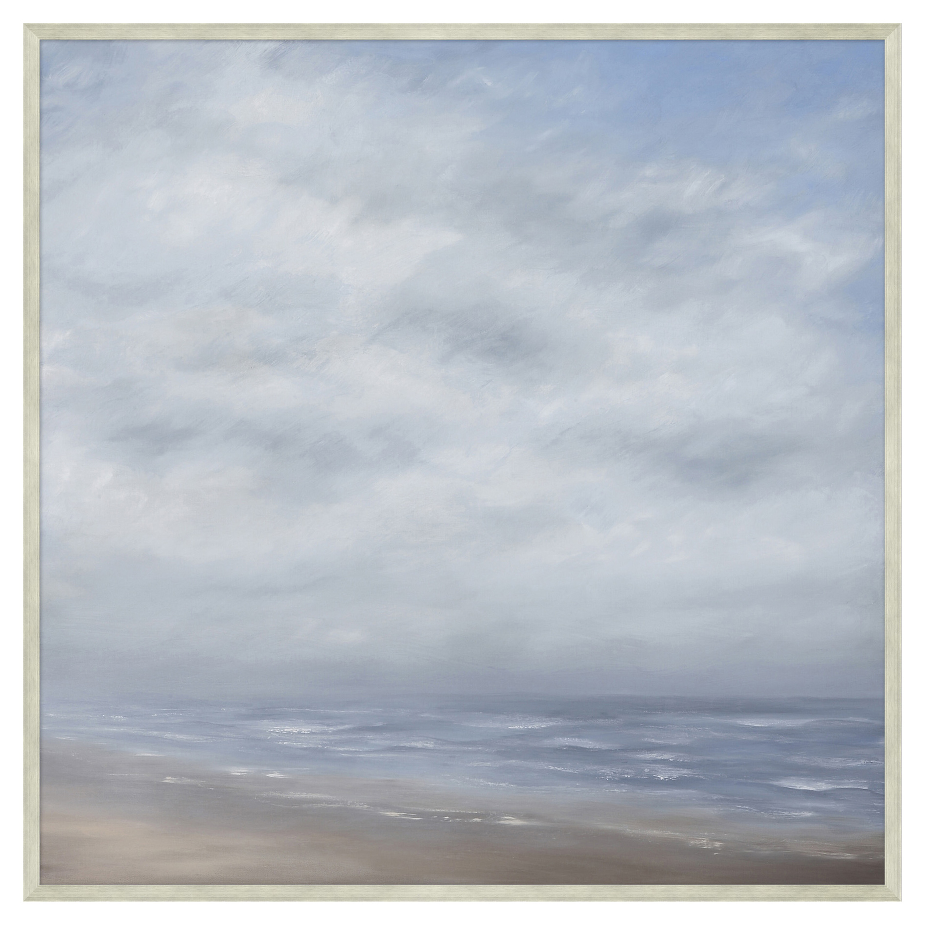 Cloudy Grey Wave Break Abstract Giclee Canvas Painting