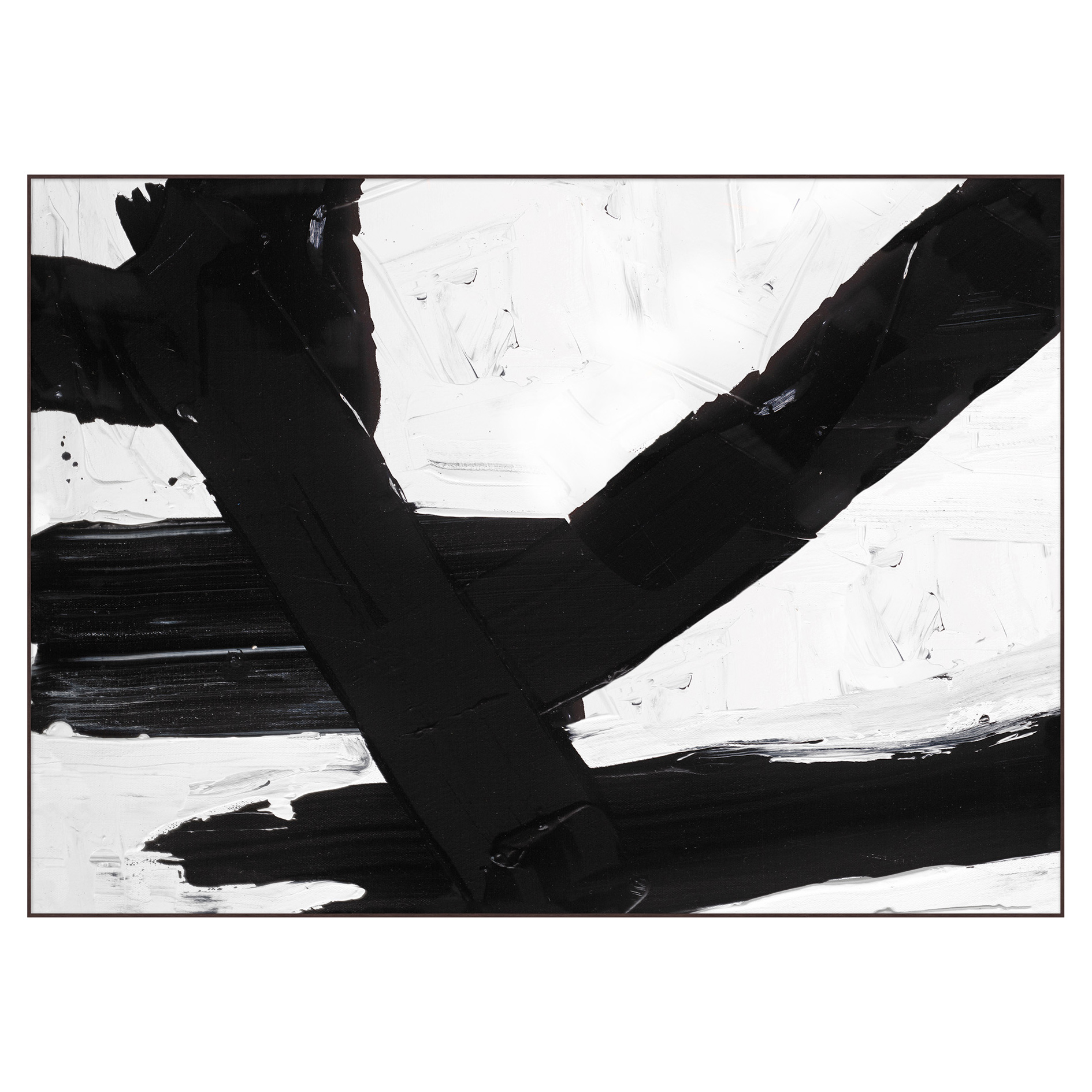 Bold Abstract Black and White Canvas Painting