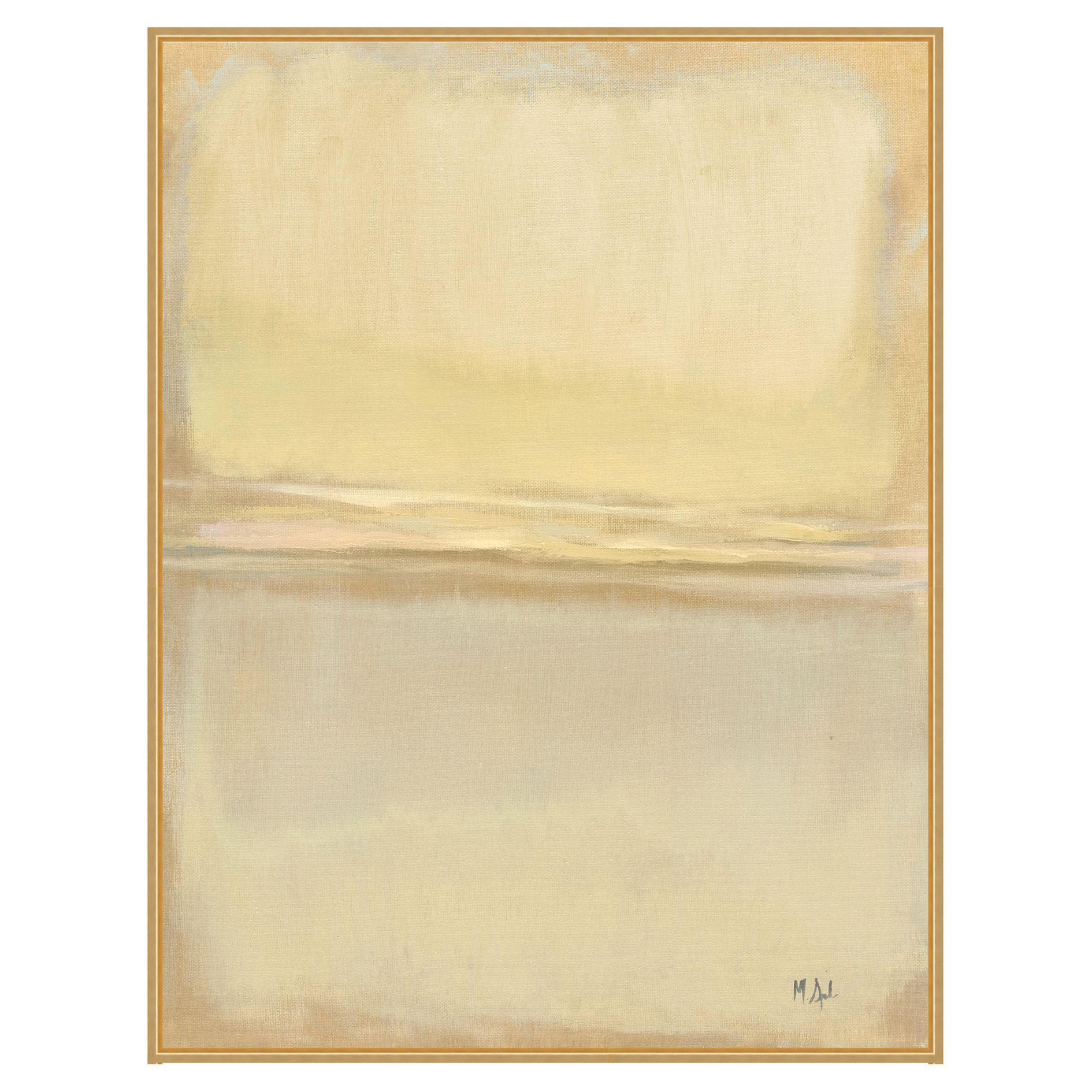Gold Perspective Beige Abstract Giclee Canvas - I
